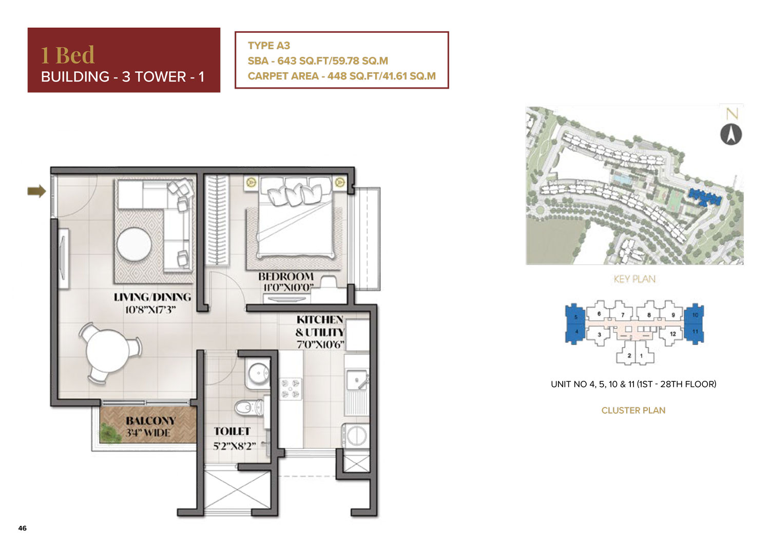 Type A3 - 643 Sq Ft