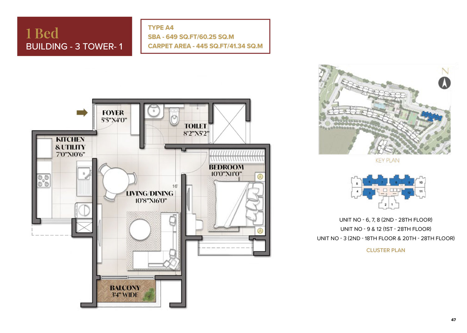 Type A4 - 649 Sq Ft