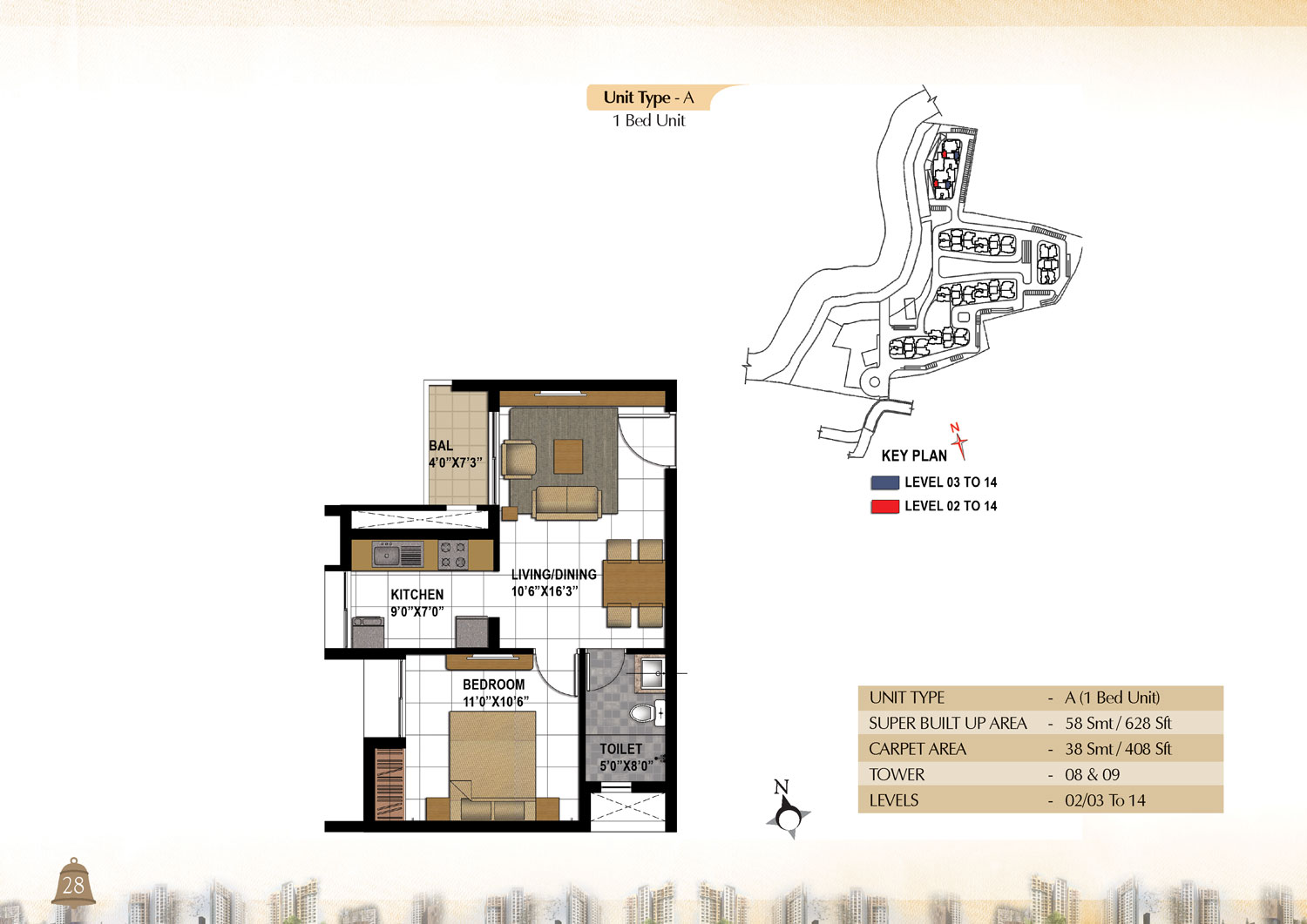 Type A - 1 Bed - 628 Sq Ft