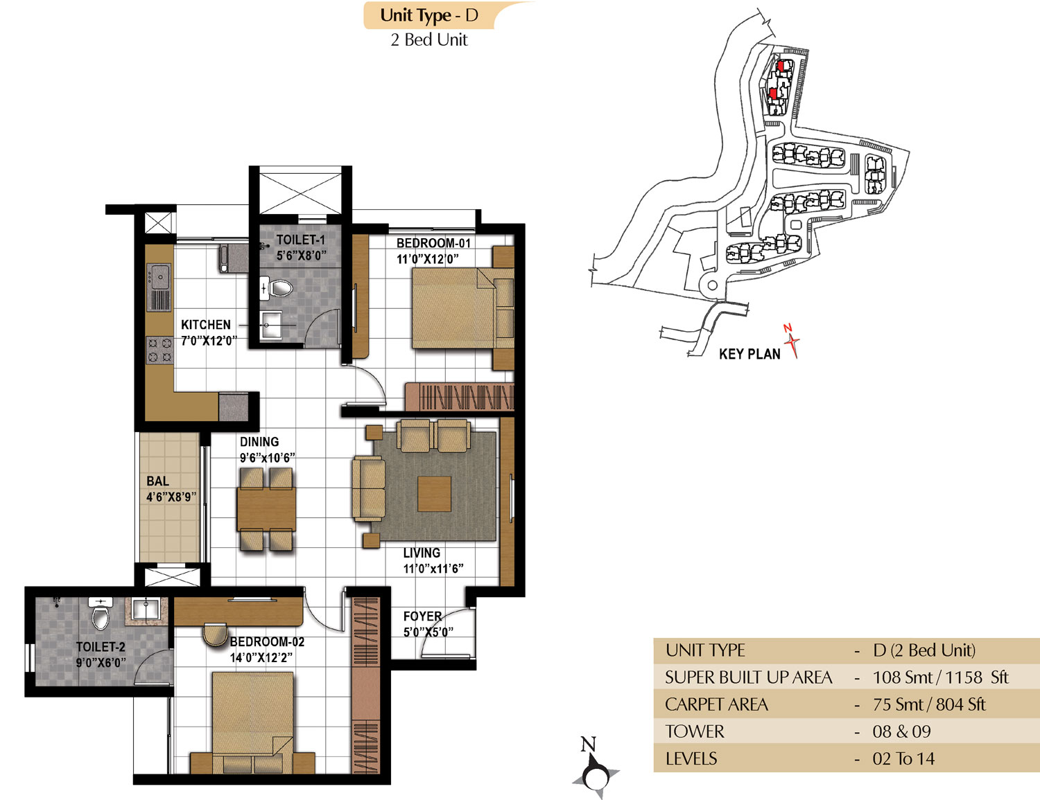 Type D - 2 Bed - 1158 Sq Ft
