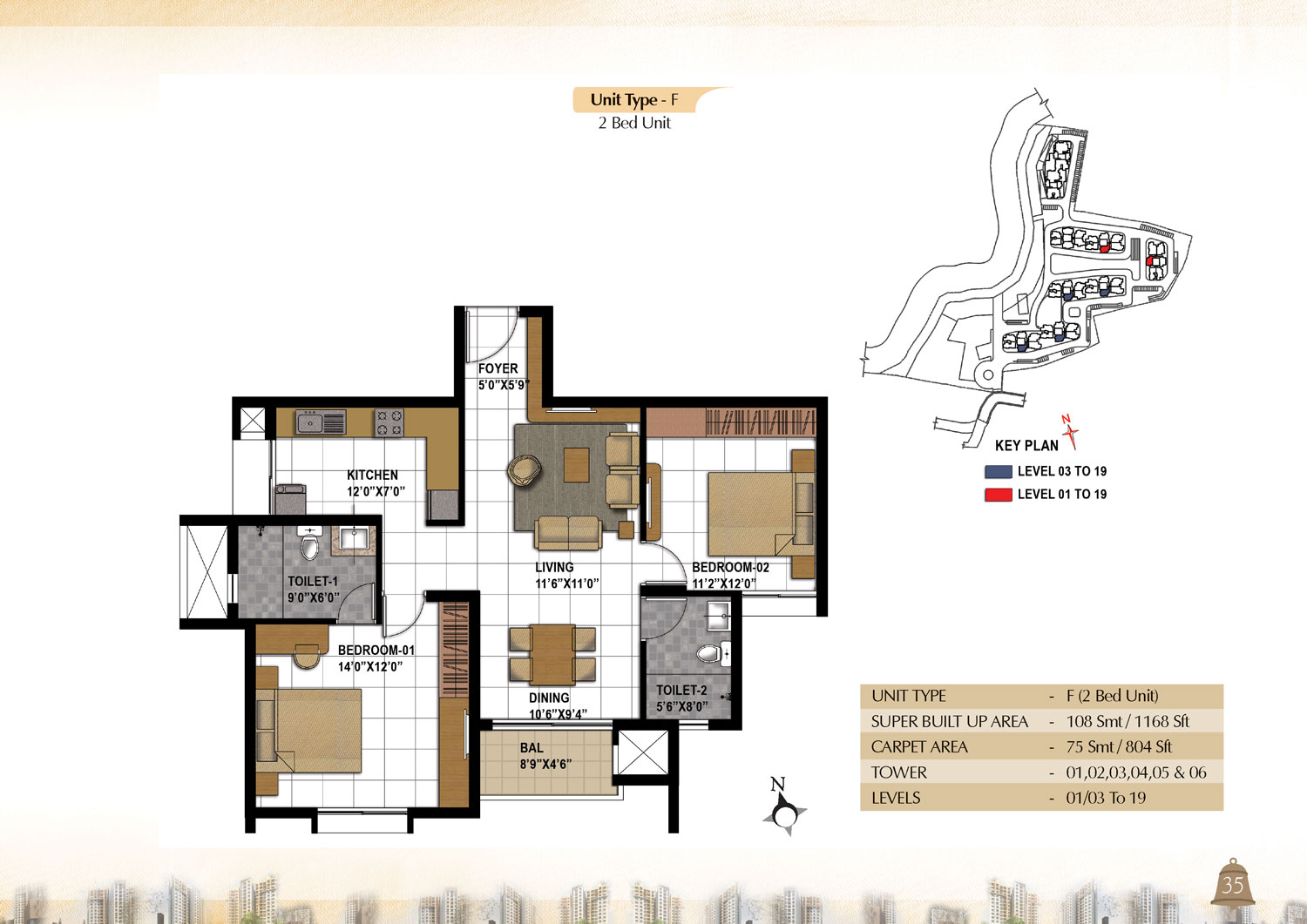 Type F - 2 Bed - 1168 Sq Ft