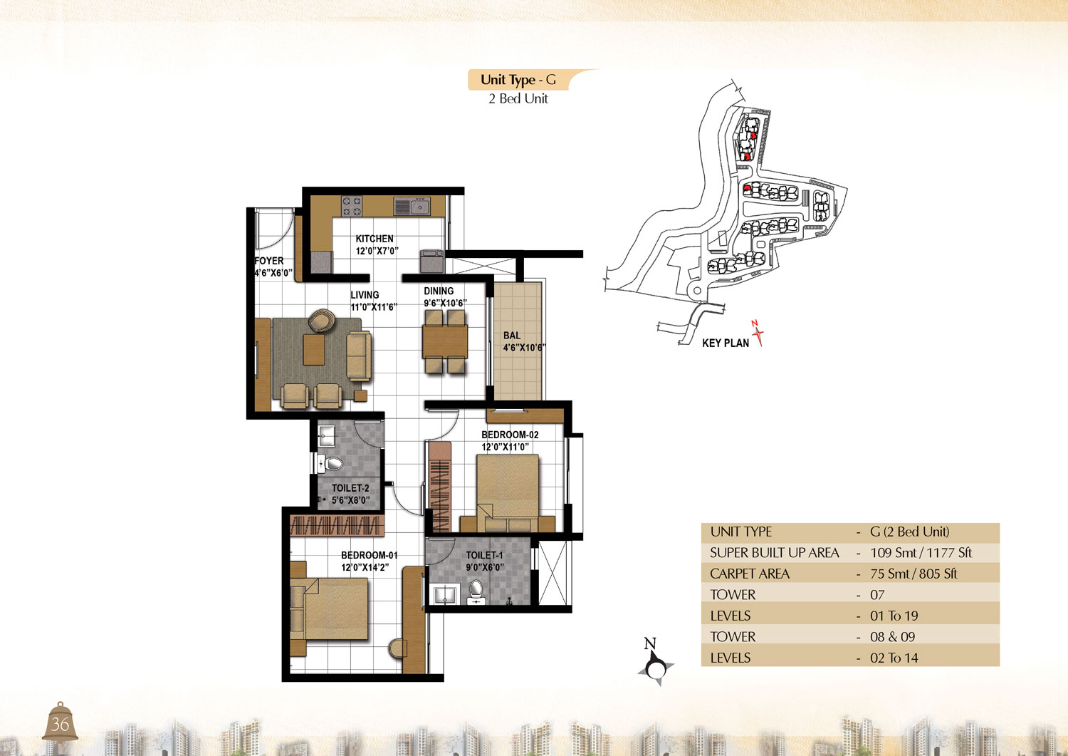 Type G - 2 Bed -  1177 Sq Ft