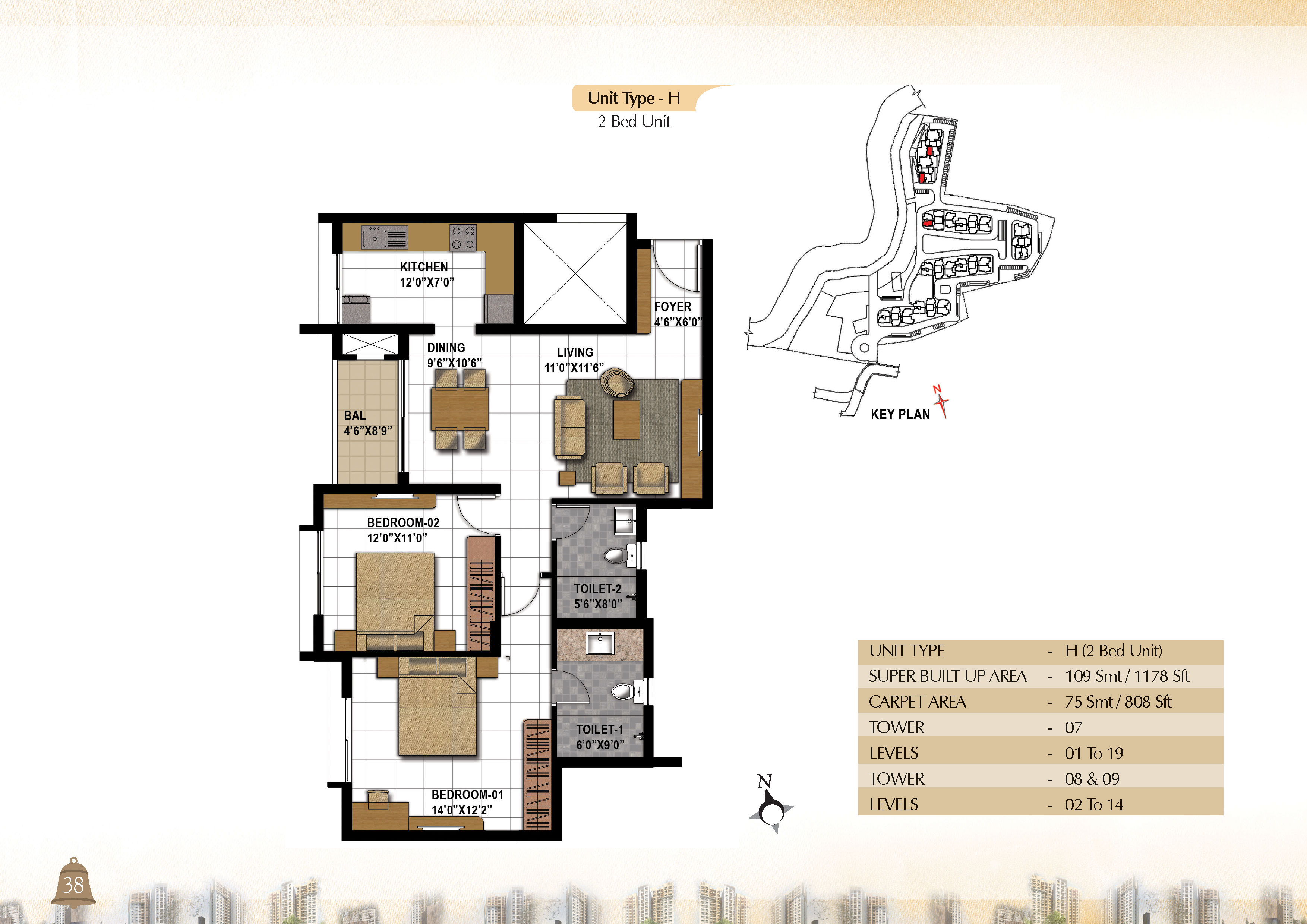 Type H - 2 Bed -  1178 Sq Ft