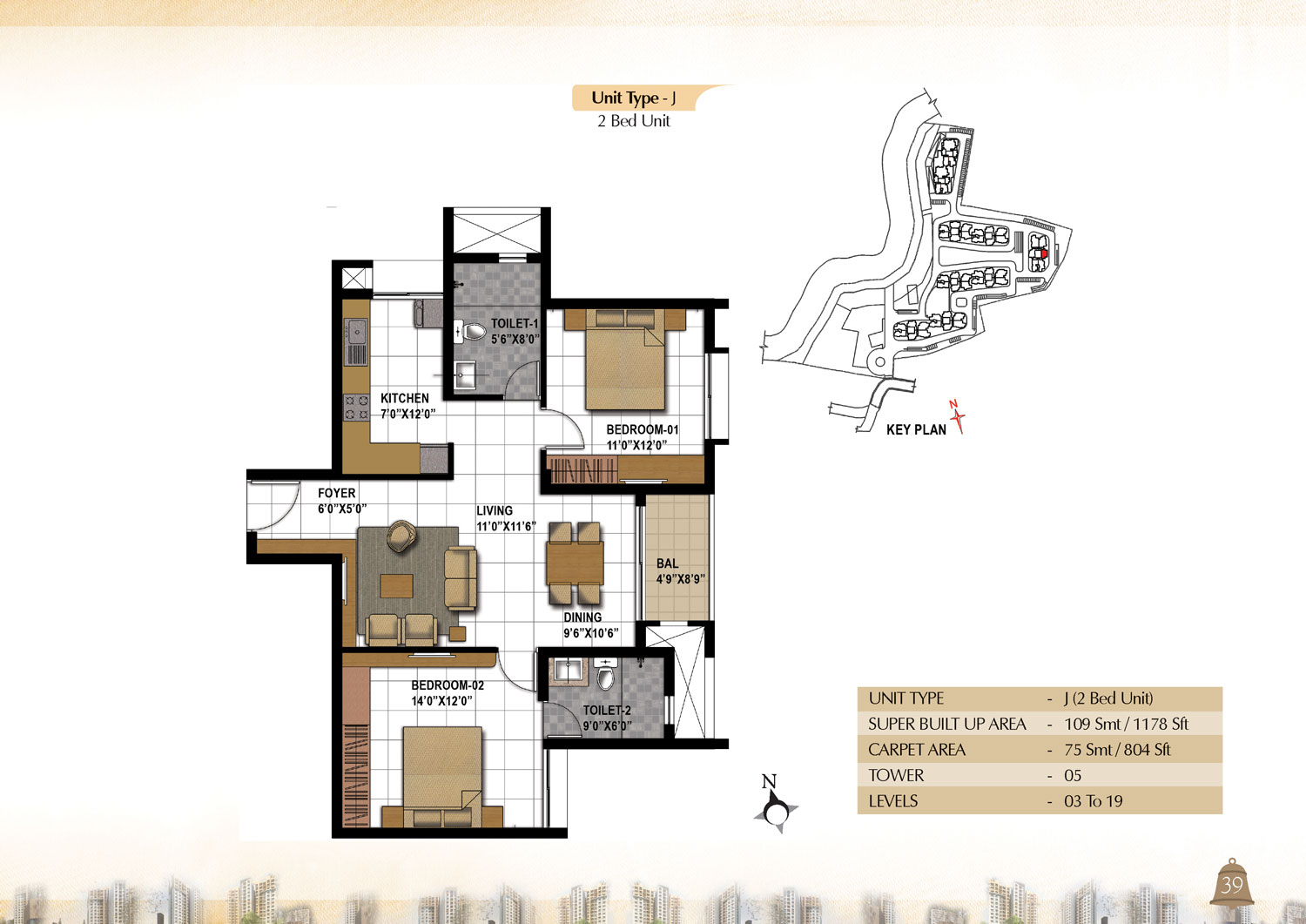 Type J - 2 Bed -  1178 Sq Ft