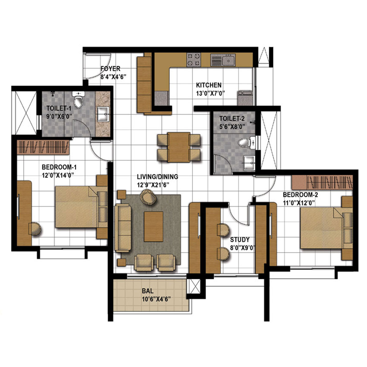 Type K - 2 Bed Study -  1360 Sq Ft