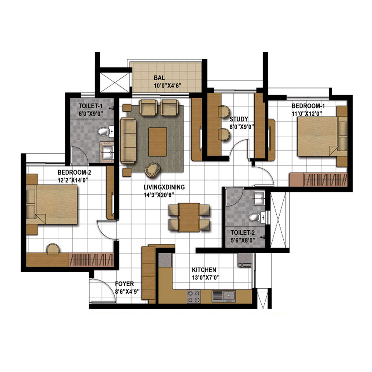 Type L - 2 Bed Study  -  1369 Sq Ft