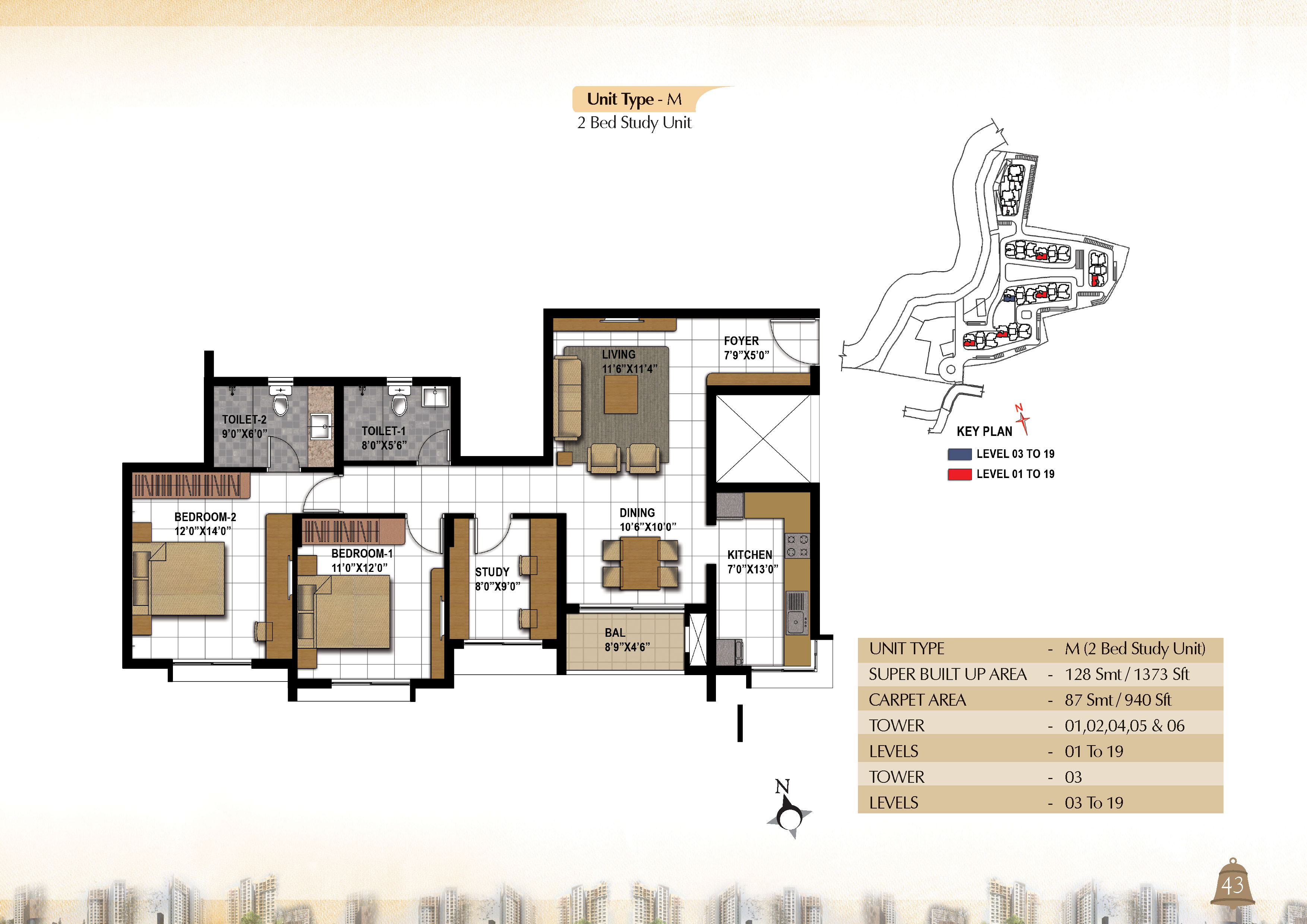 Type M - 2 Bed Study -  1373 Sq Ft