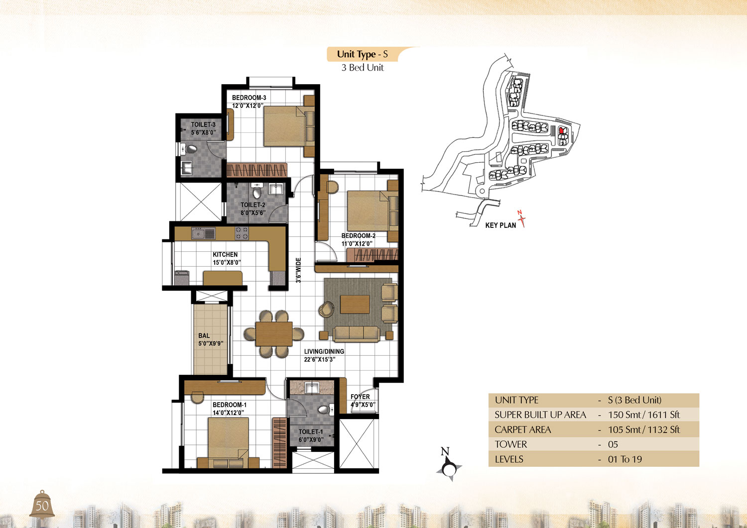 Type S - 3 Bed - 1611 Sq Ft
