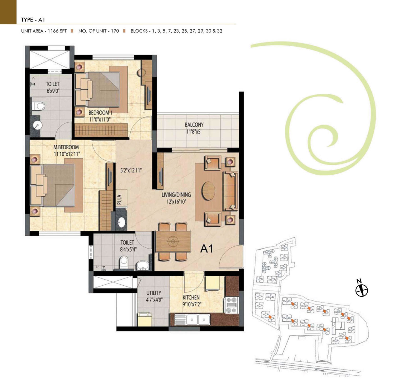 Type A1 - 2 Bed - 1166 Sq Ft