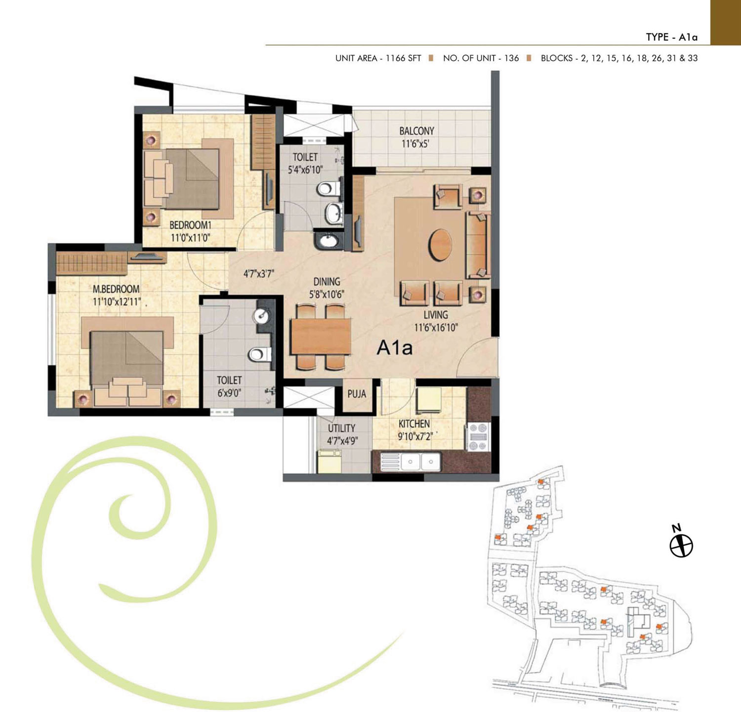 Type A1A - 2 Bed - 1166 Sq Ft