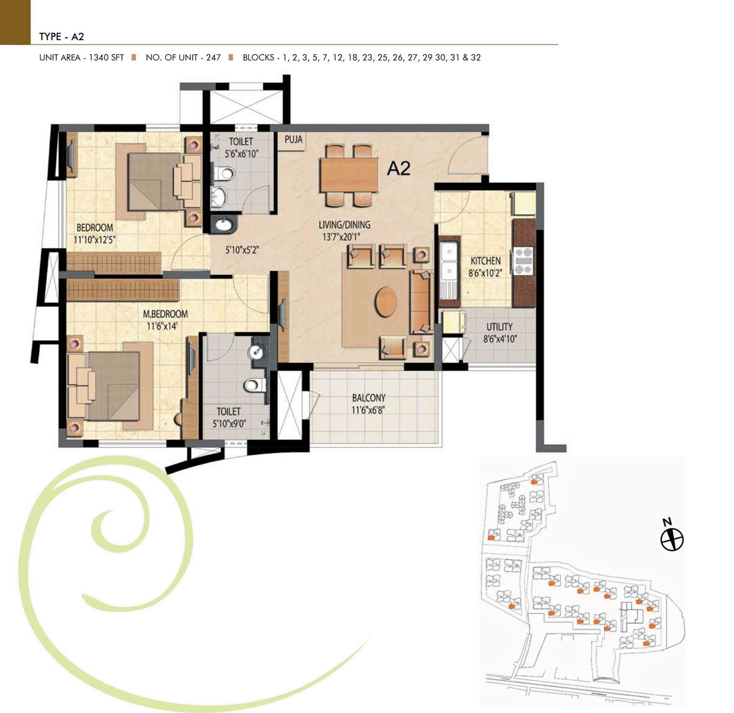 Type A2 - 2 Bed - 1340 Sq Ft