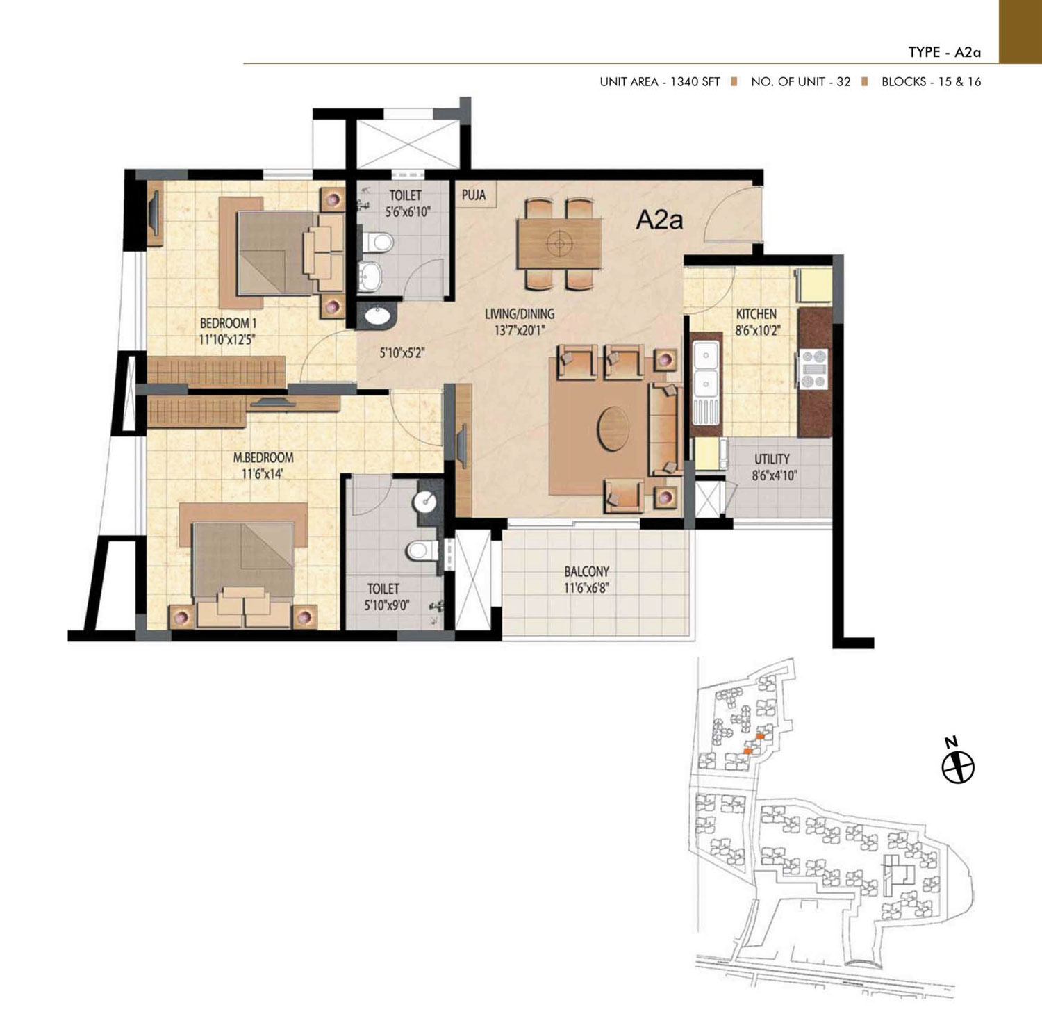 Type A2A - 2 Bed - 1340 Sq Ft