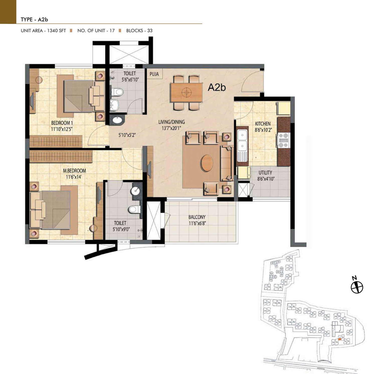 Type A2B - 2 Bed - 1340 Sq Ft
