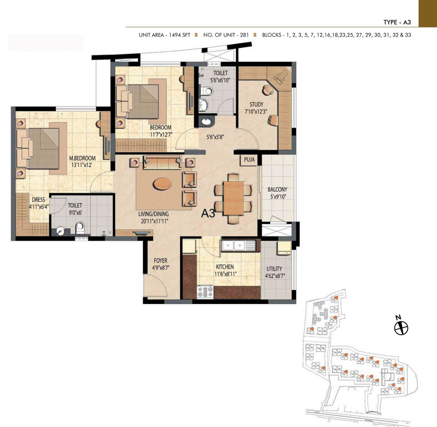 Type A3 - 2 Bed - 1494 Sq Ft