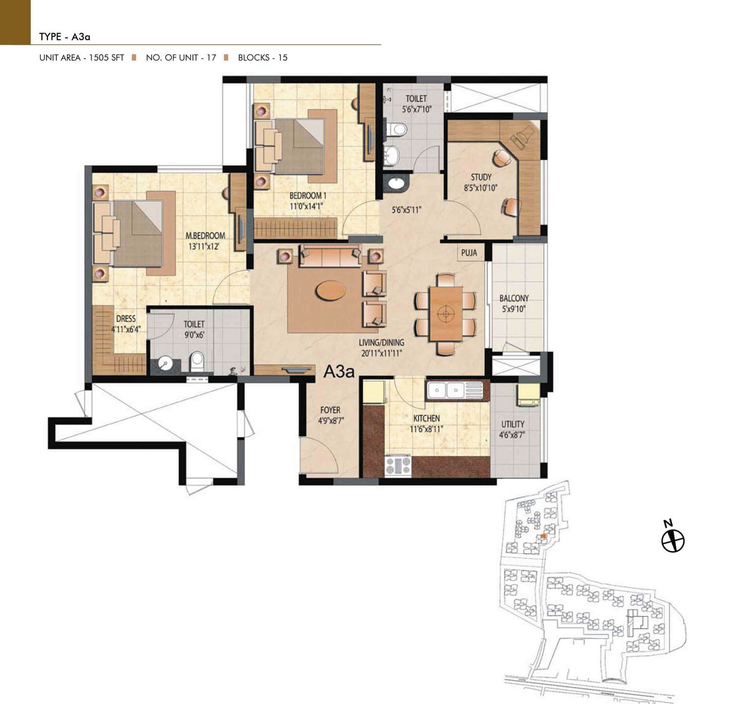 Type A3A - 2 Bed - 1505 Sq Ft