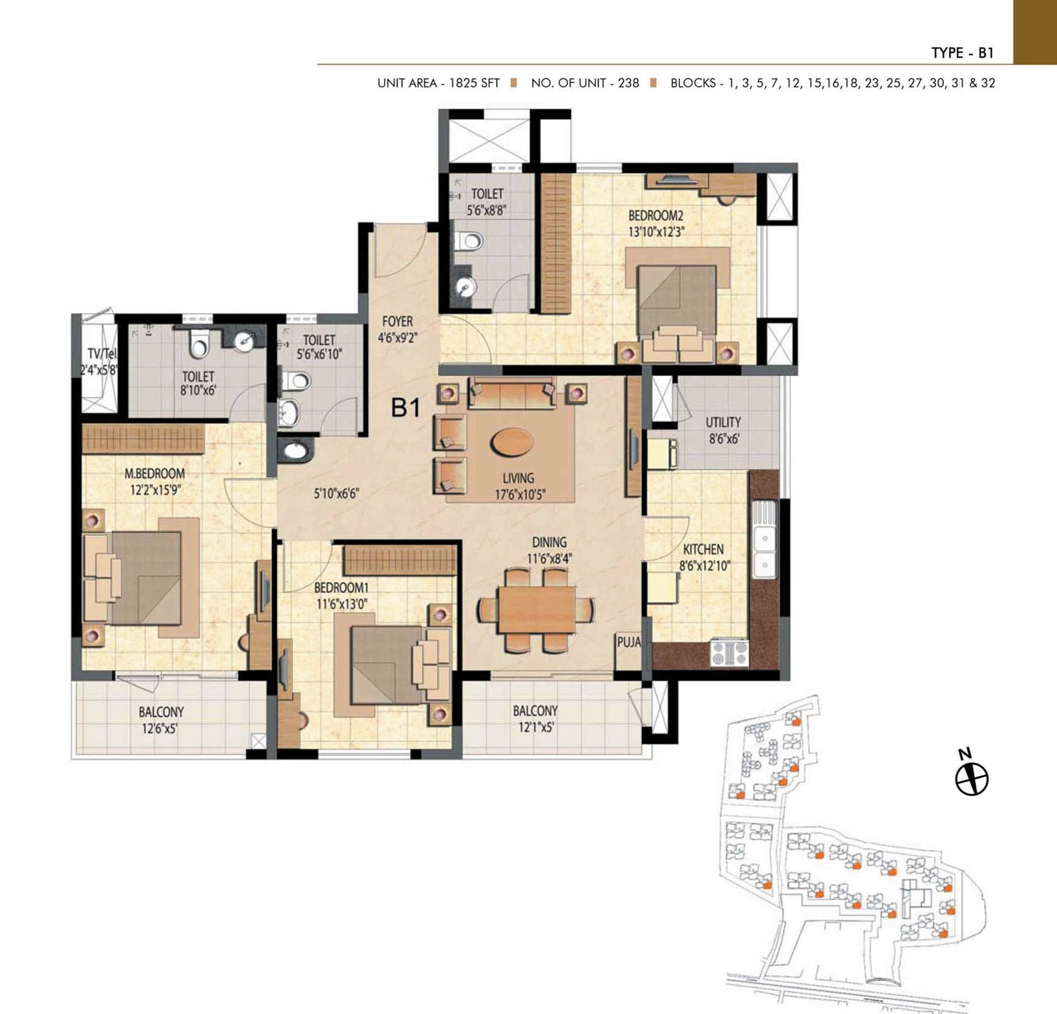Type B1 - 2 Bed - 1825 Sq Ft