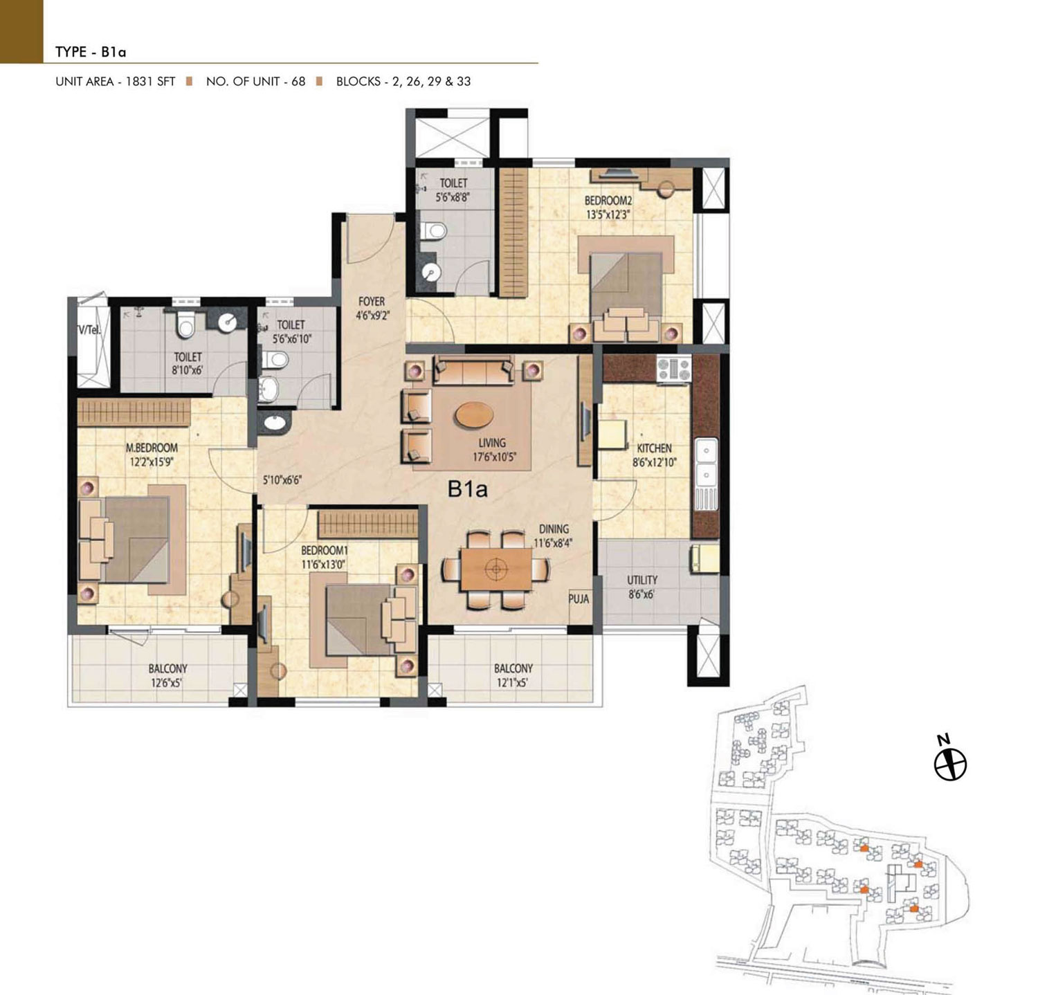 Type B1A - 2 Bed - 1831 Sq Ft
