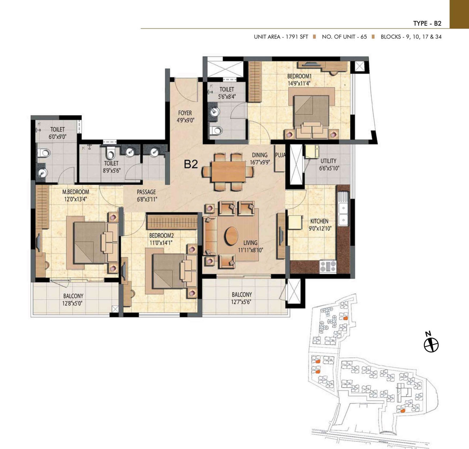 Type B2 - 2 Bed - 1791 Sq Ft