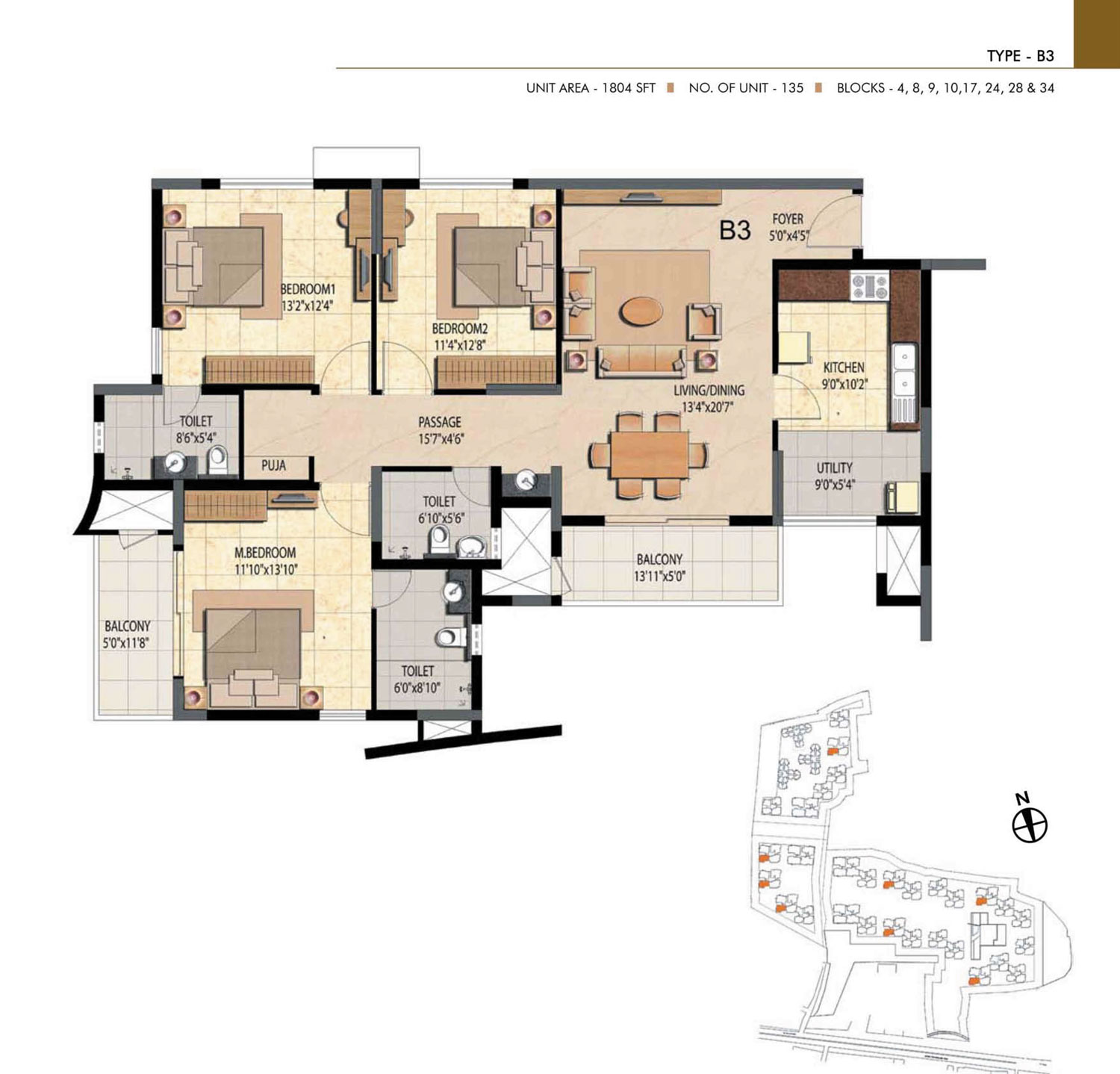 Type B3 - 3 Bed - 1804 Sq Ft