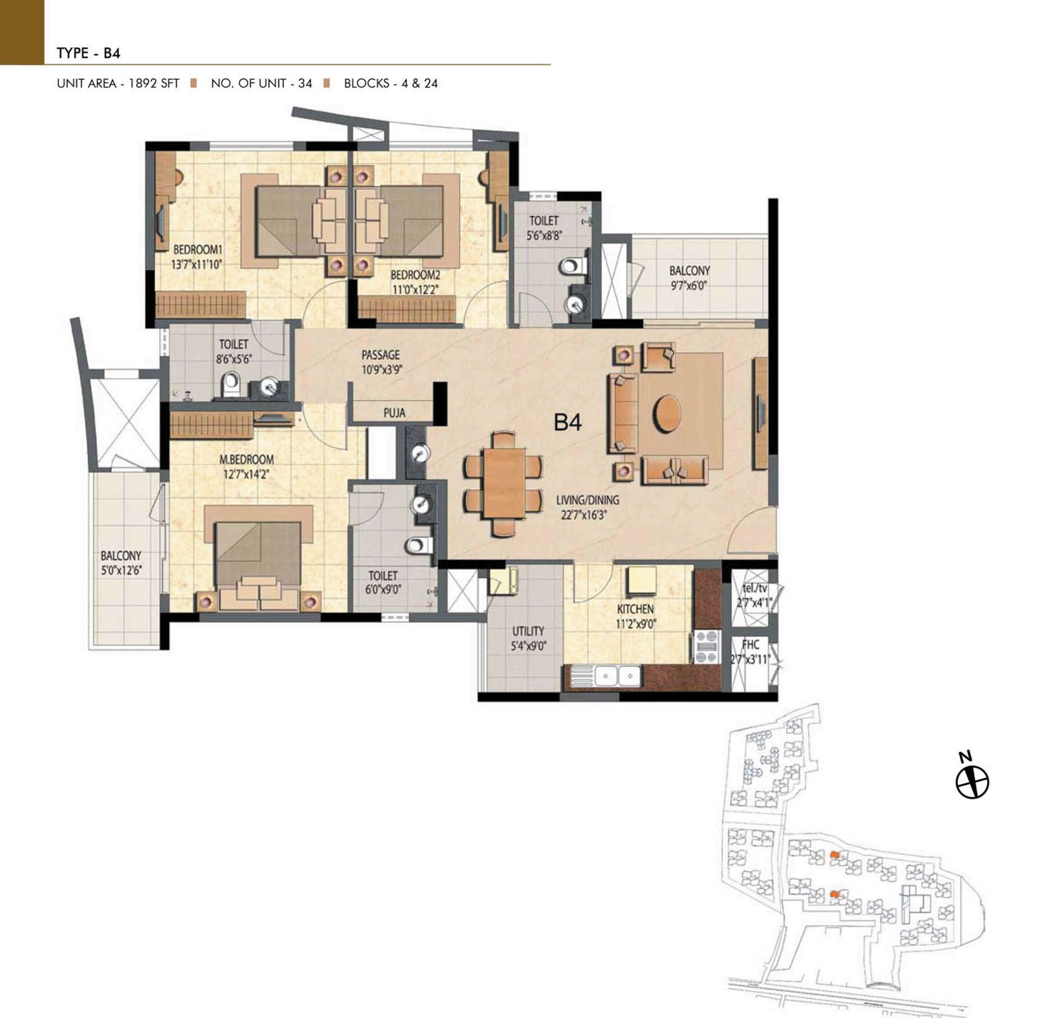 Type B4 - 3 Bed - 1892 Sq Ft