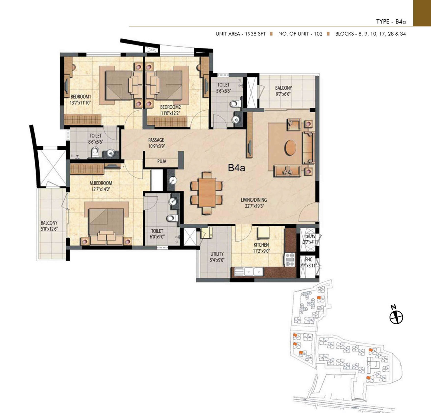 Type B4A - 3 Bed - 1938 Sq Ft