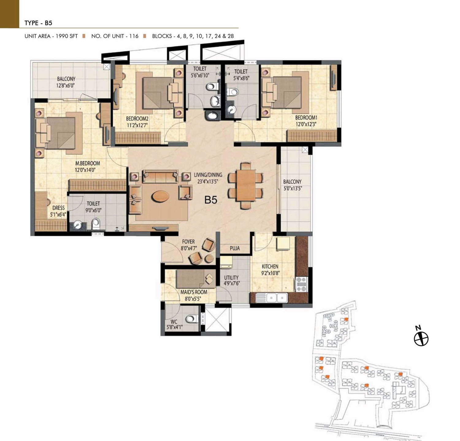 Type B5 - 3 Bed - 1990 Sq Ft
