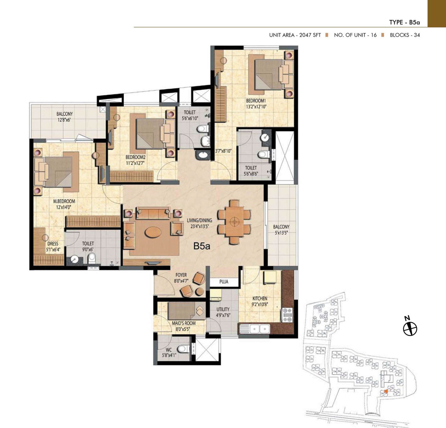 Type B5A - 3 Bed - 2047 Sq Ft
