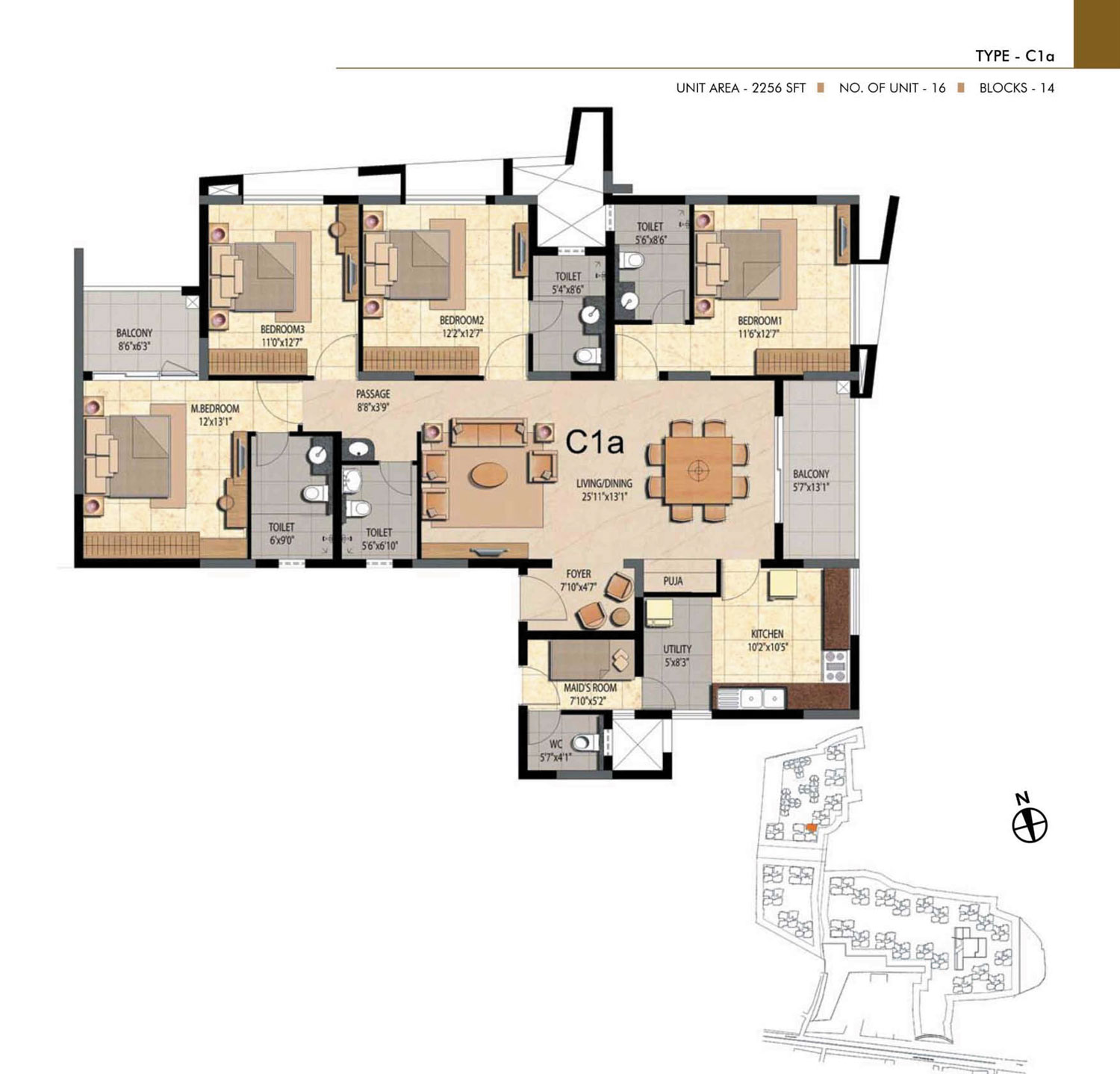 Type C1A - 4 Bed - 2256 Sq Ft