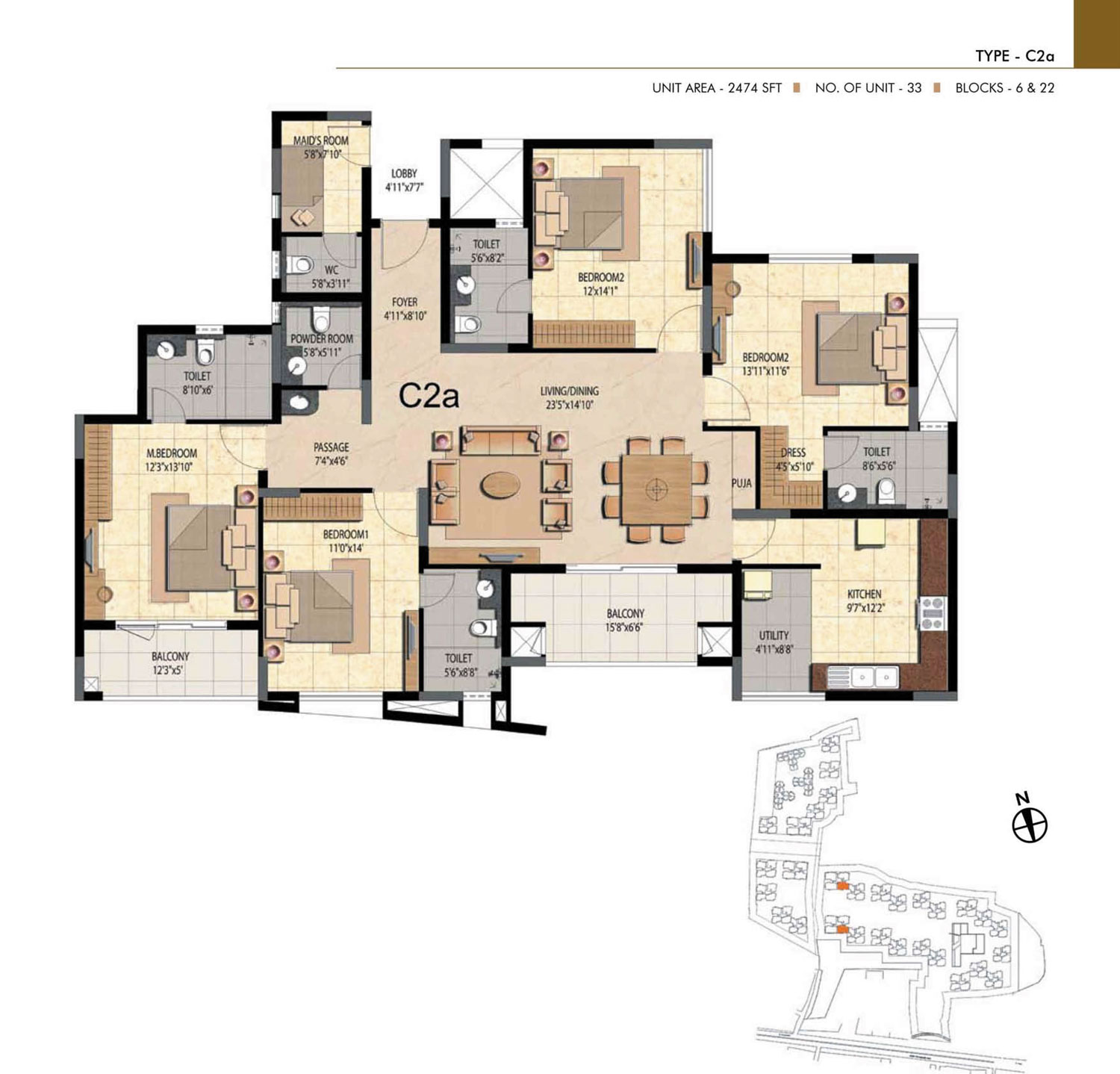 Type C2A - 4 Bed - 2474 Sq Ft