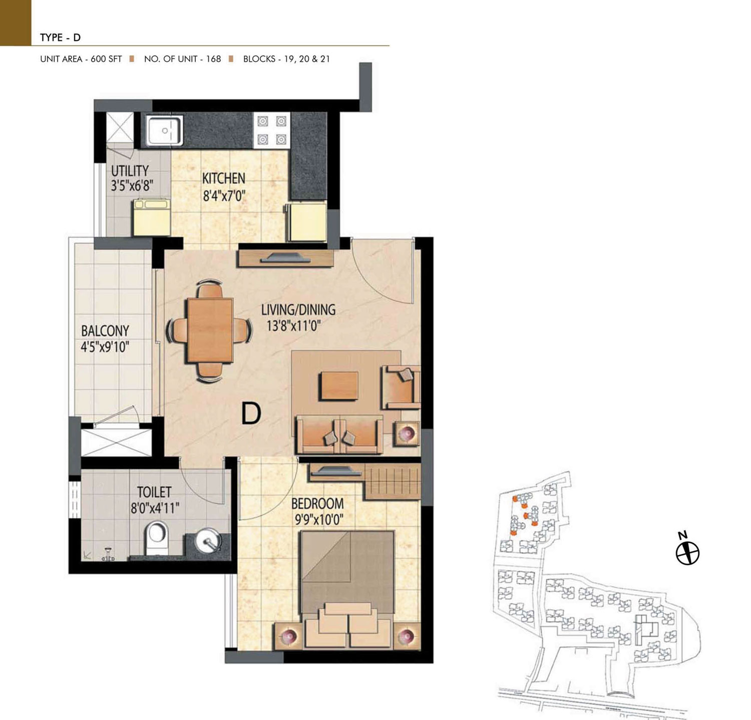 Type D - 1 Bed - 600 Sq Ft