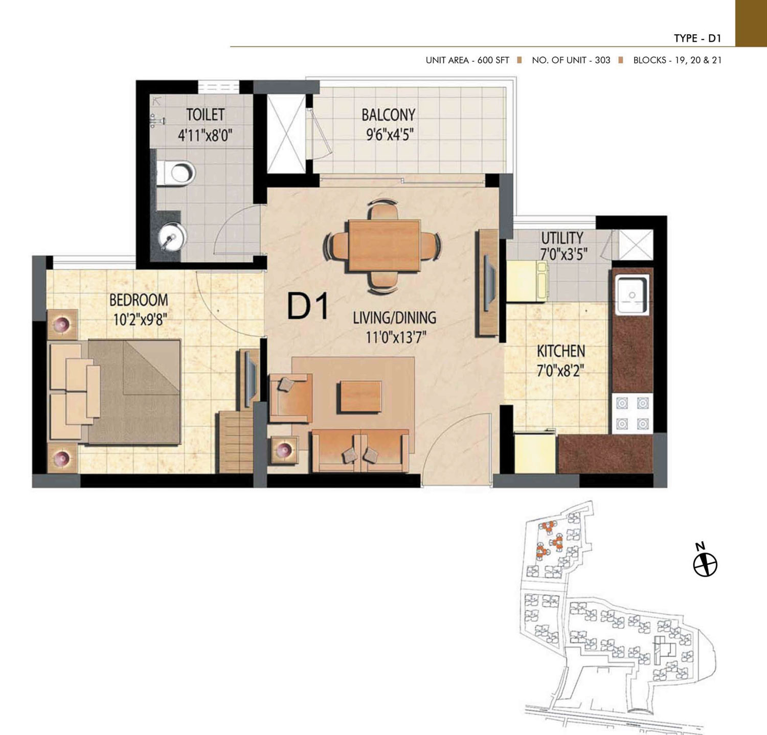 Type D1 - 1 Bed - 600 Sq Ft