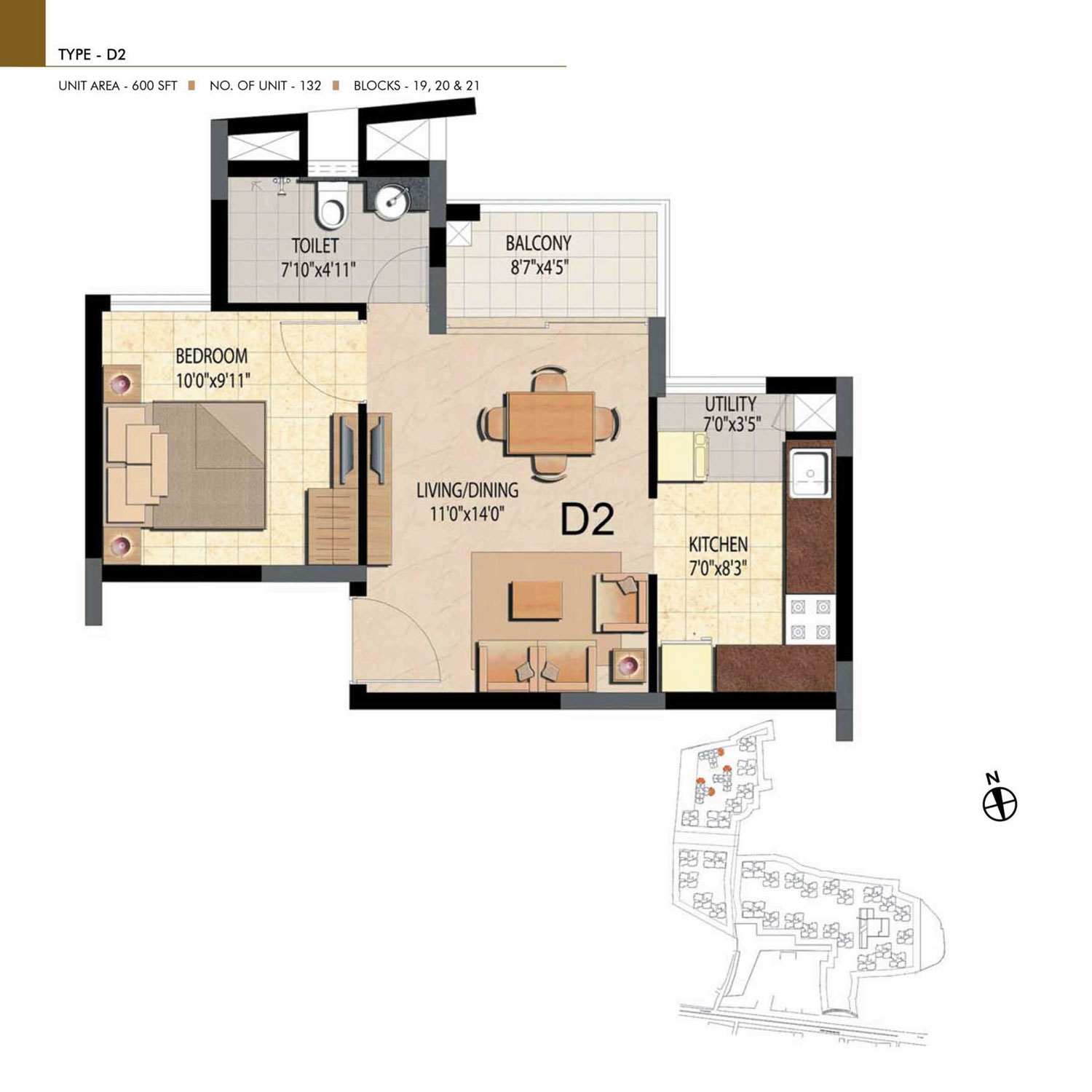 Type D2 - 1 Bed - 600 Sq Ft