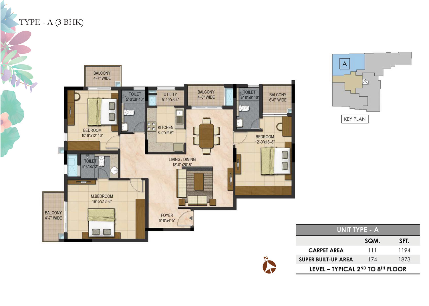 Type A - 3 Bed - 1873 Sq Ft