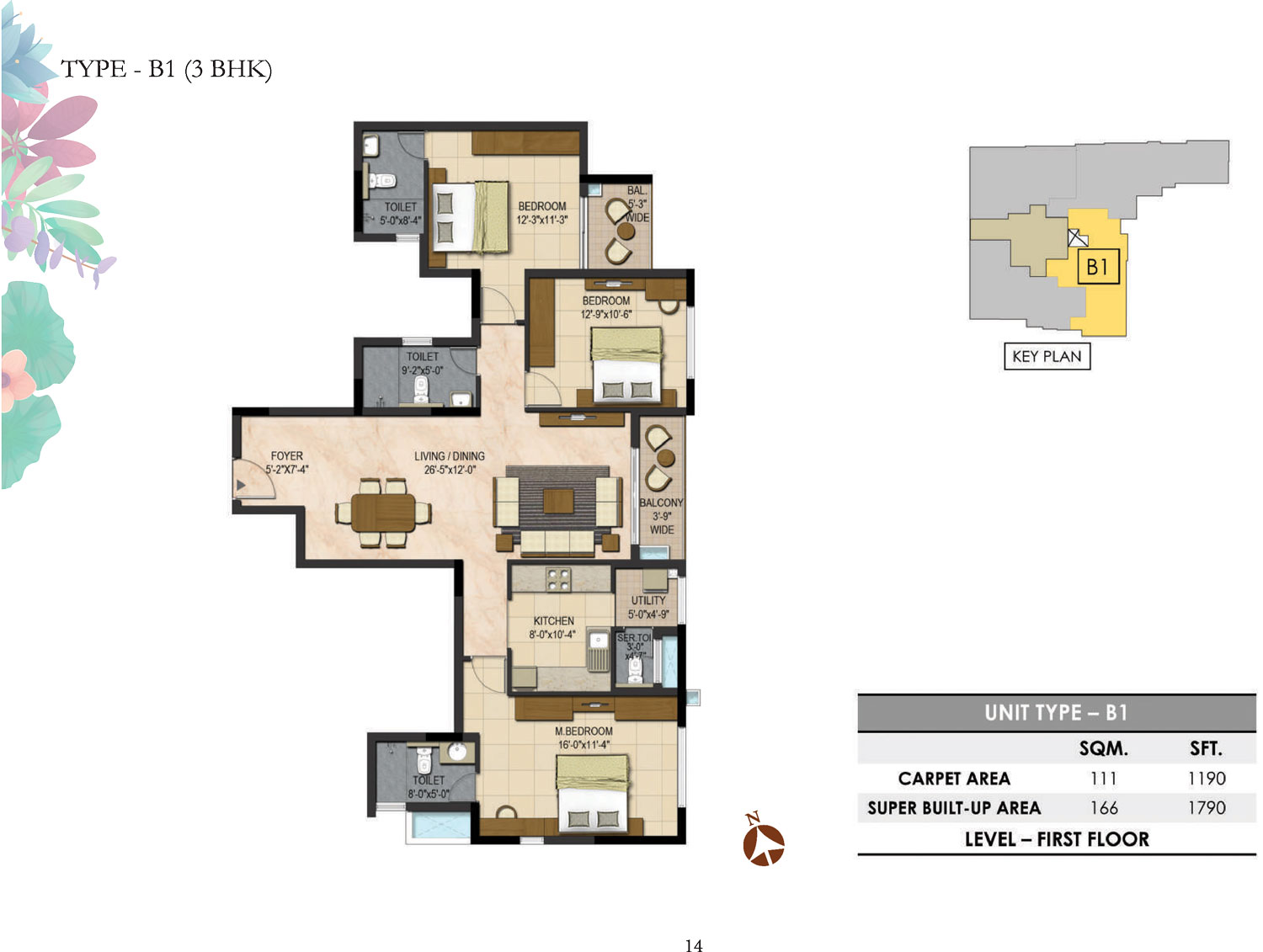 Type B1 - 3 Bed - 1790 Sq Ft