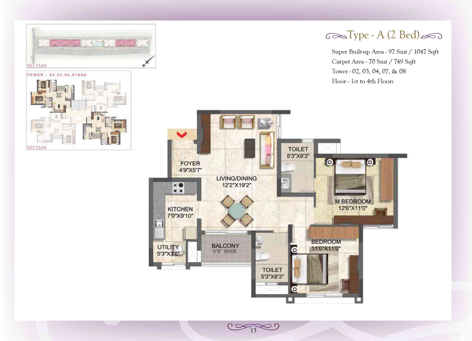 Type A - 2 Bed - 1047 Sq Ft