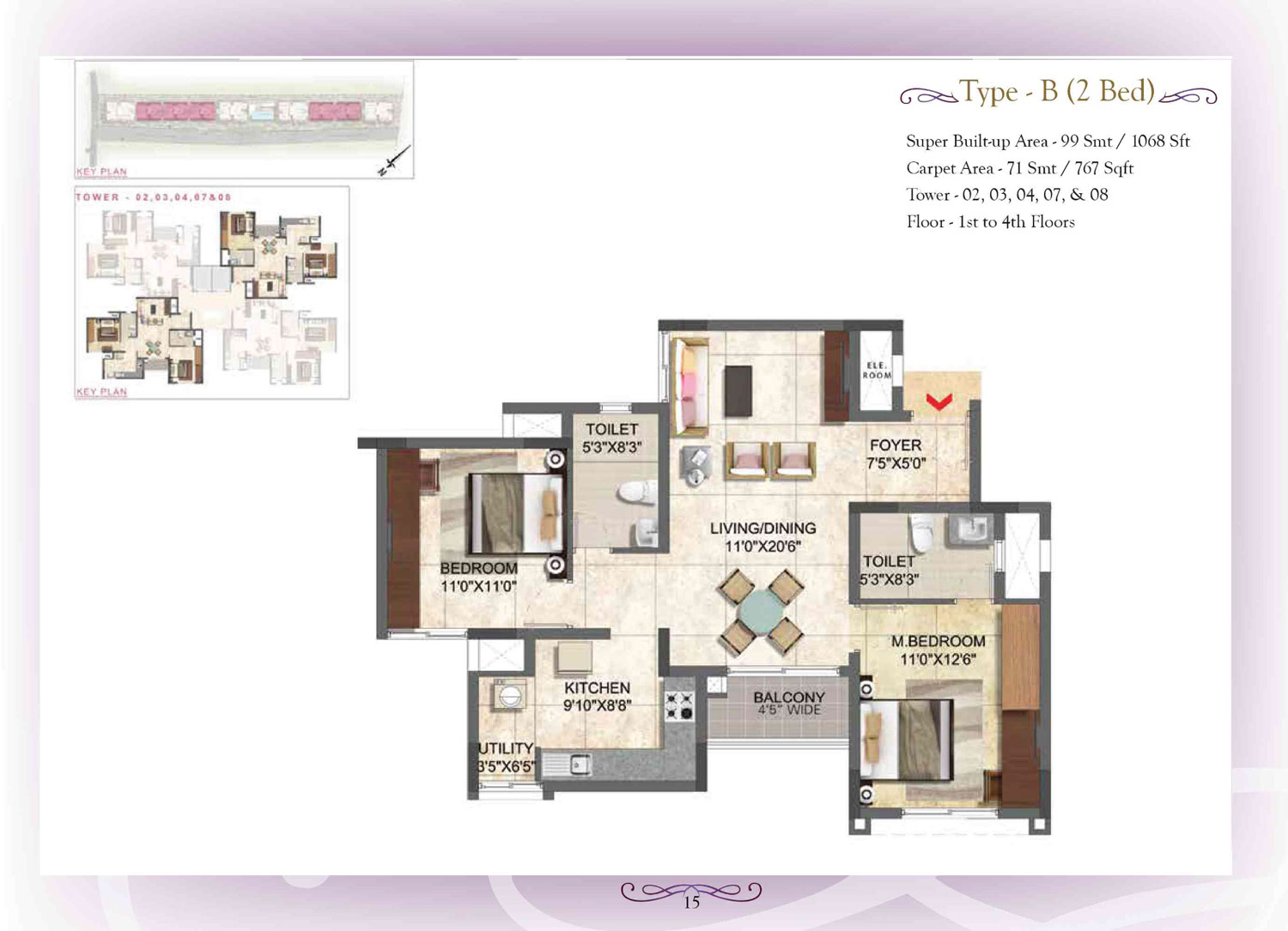 Type B - 2 Bed - 1068 Sq Ft
