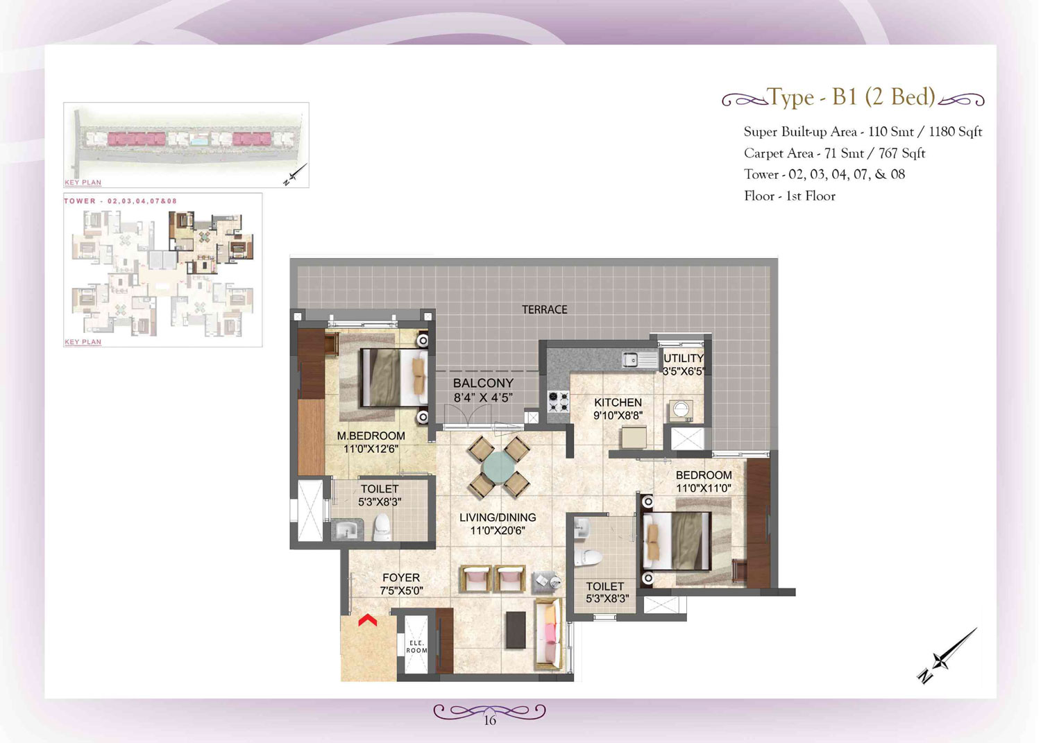 Type B1 - 2 Bed - 1180 Sq Ft