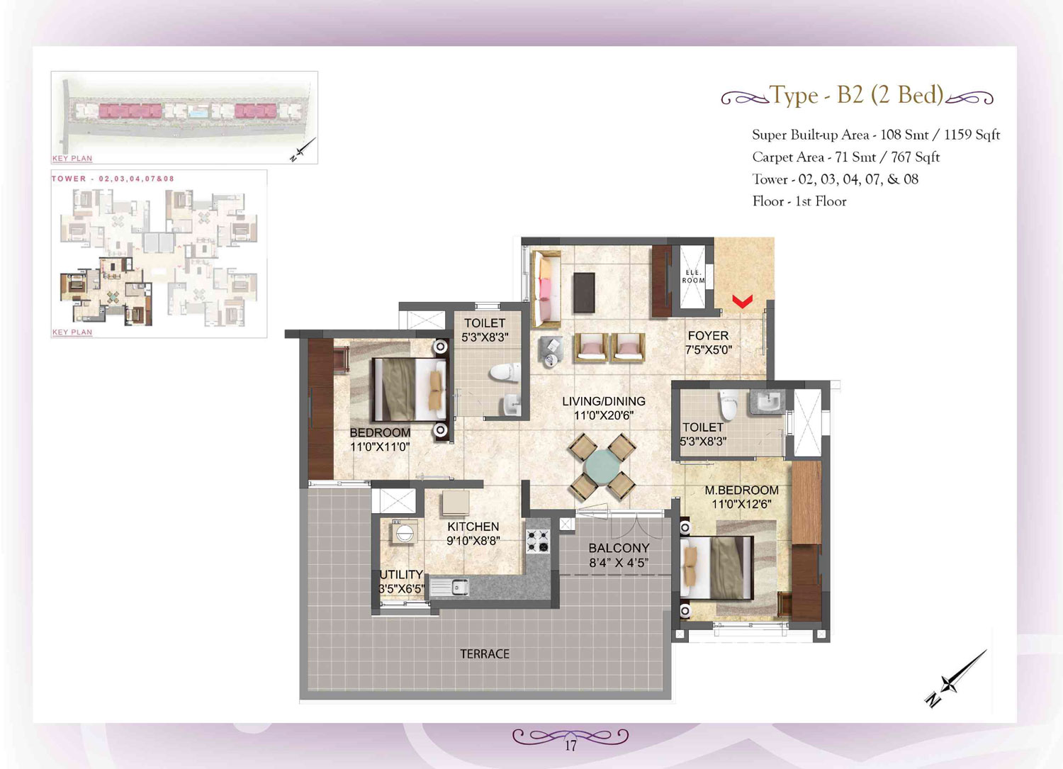Type B2 - 2 Bed - 1059 Sq Ft