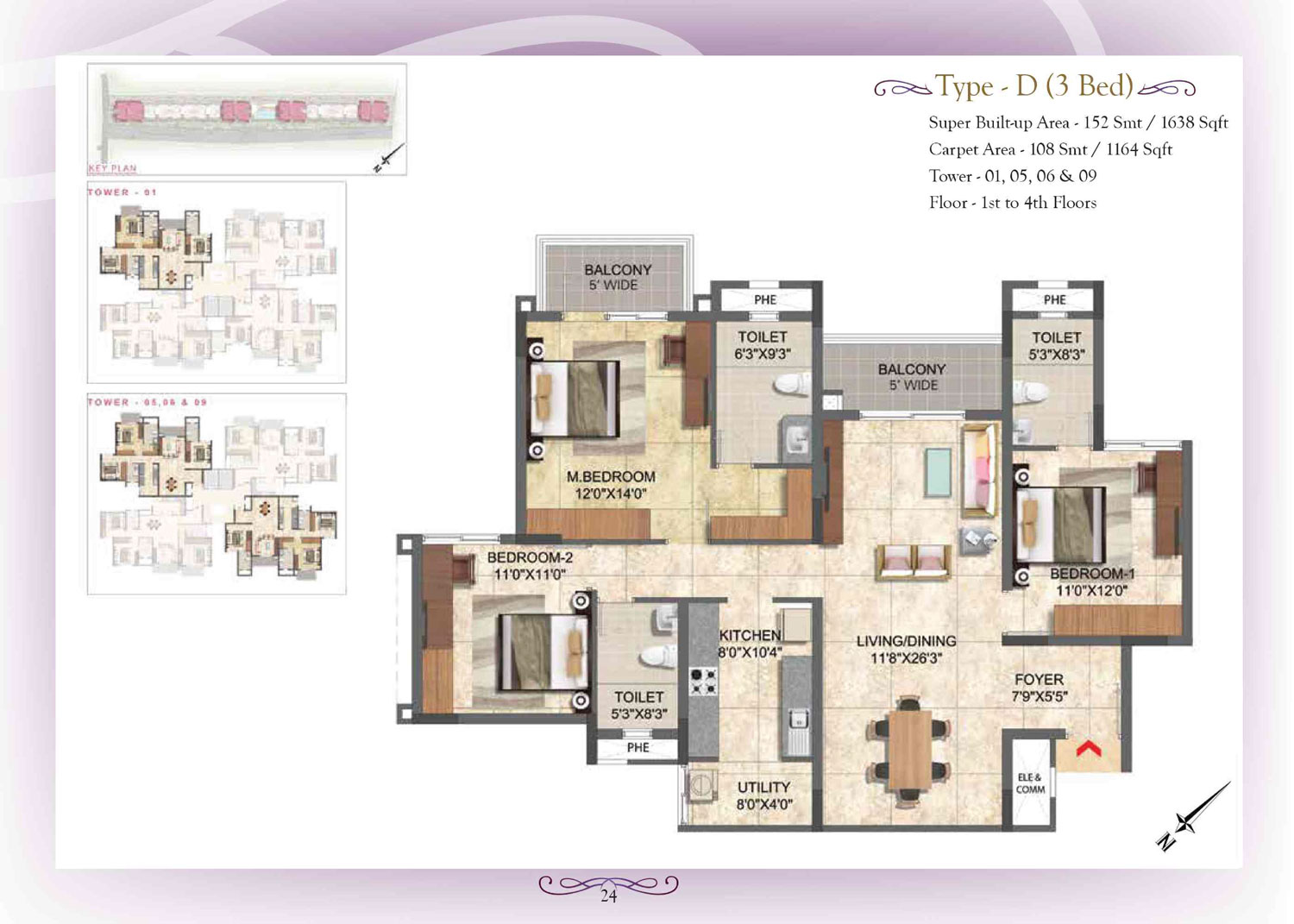 Type D - 3 Bed - 1164 Sq Ft