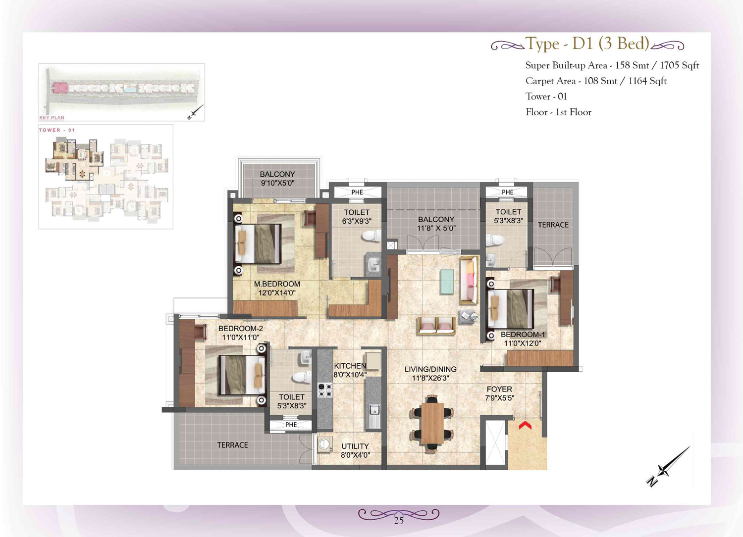 Type D1 - 3 Bed - 1164 Sq Ft