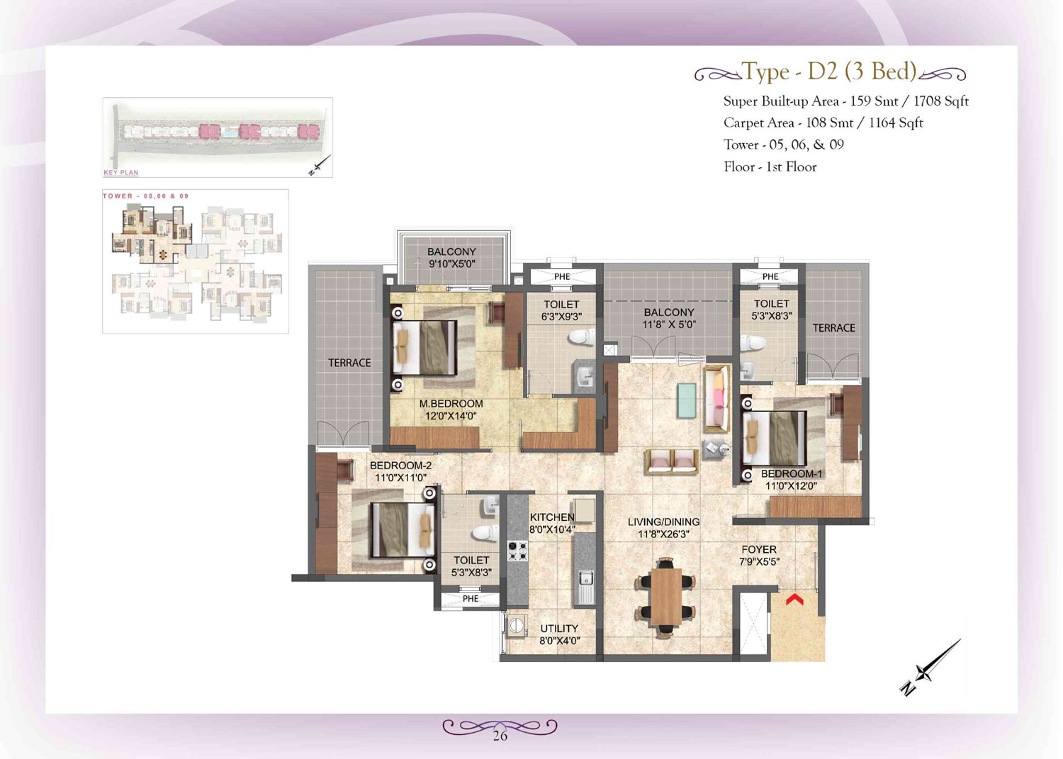 Type D2 - 3 Bed - 1708 Sq Ft
