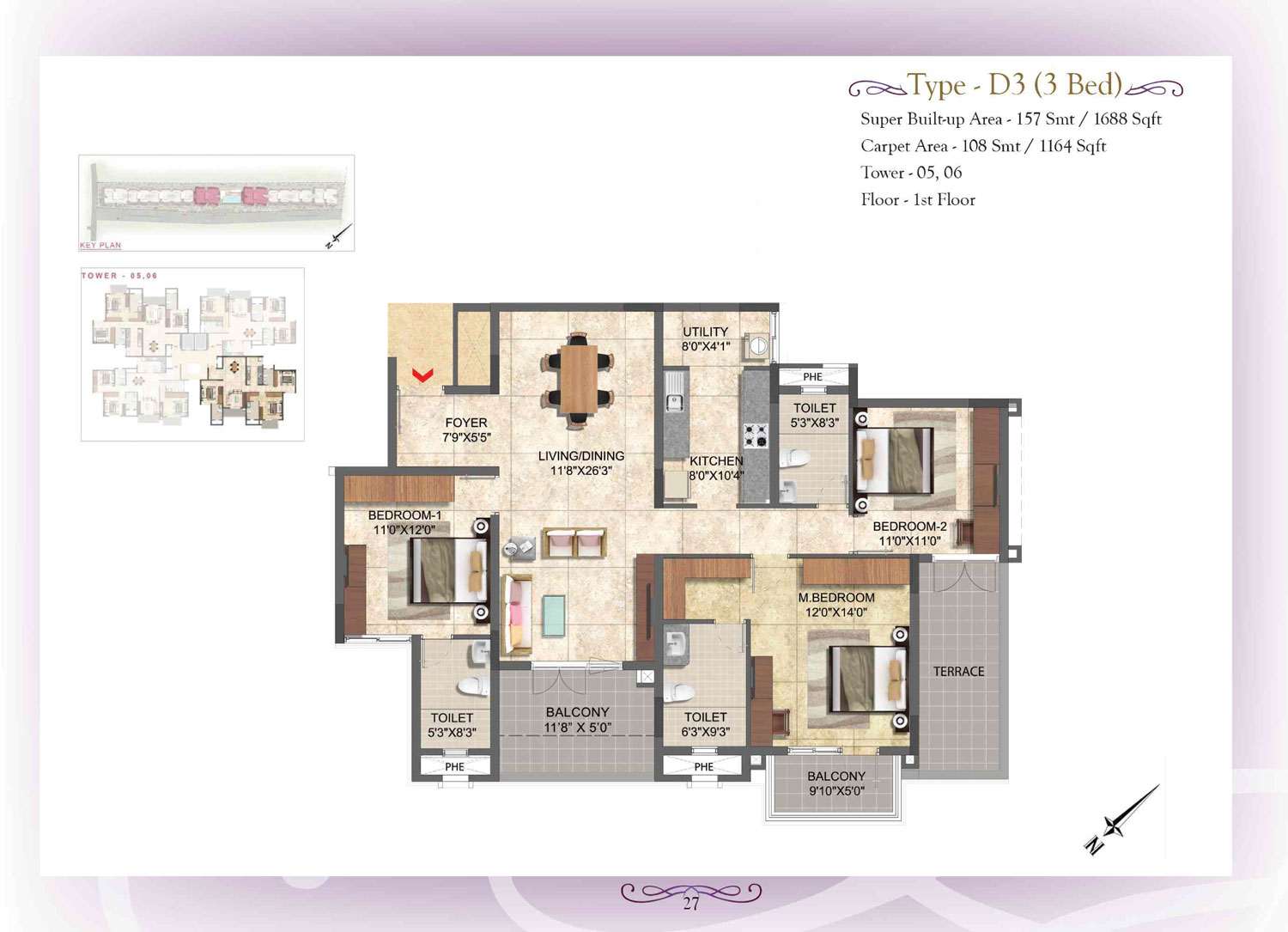 Type D3 - 3 Bed - 1688 Sq Ft