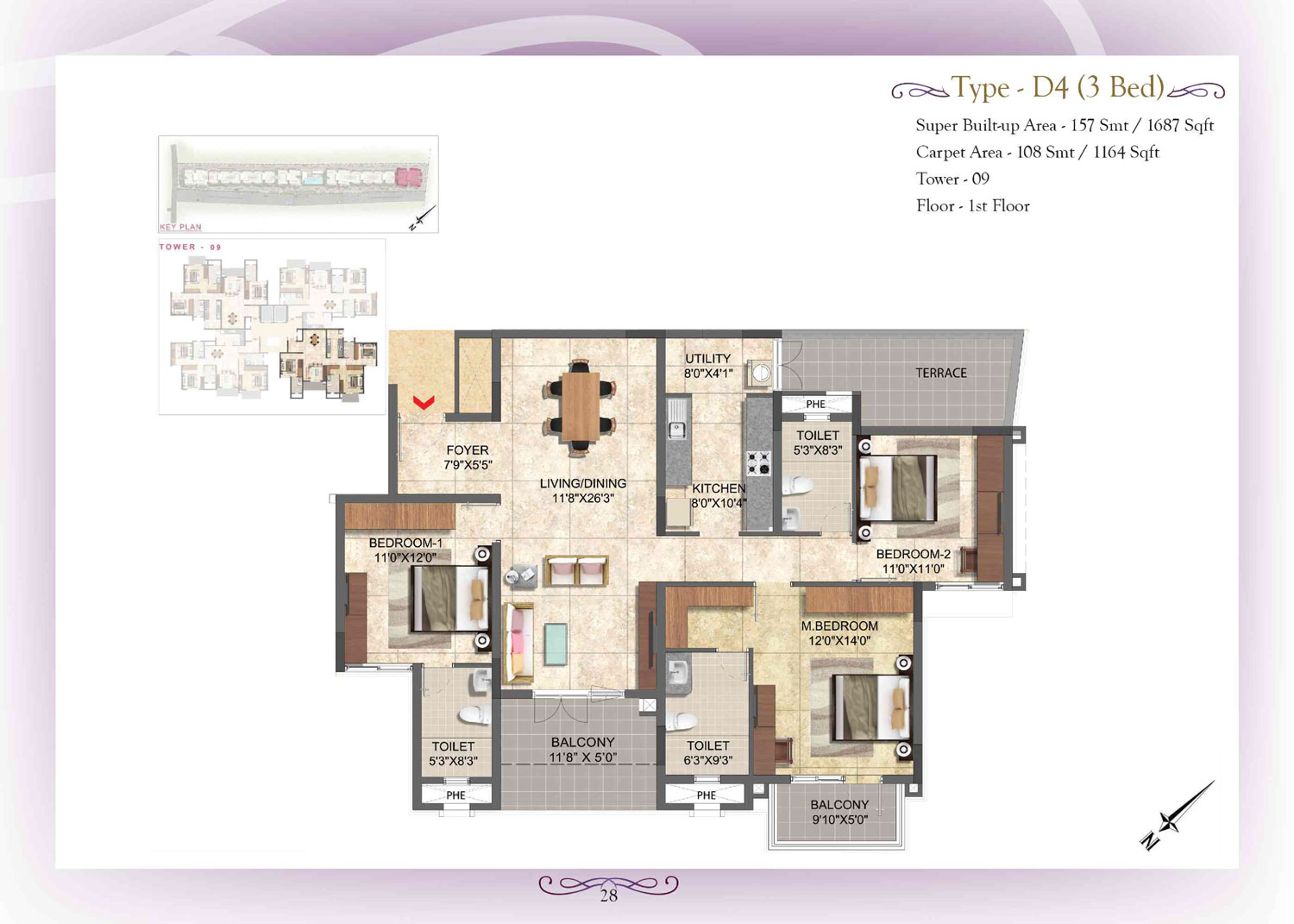 Type D4 - 3 Bed - 1687 Sq Ft