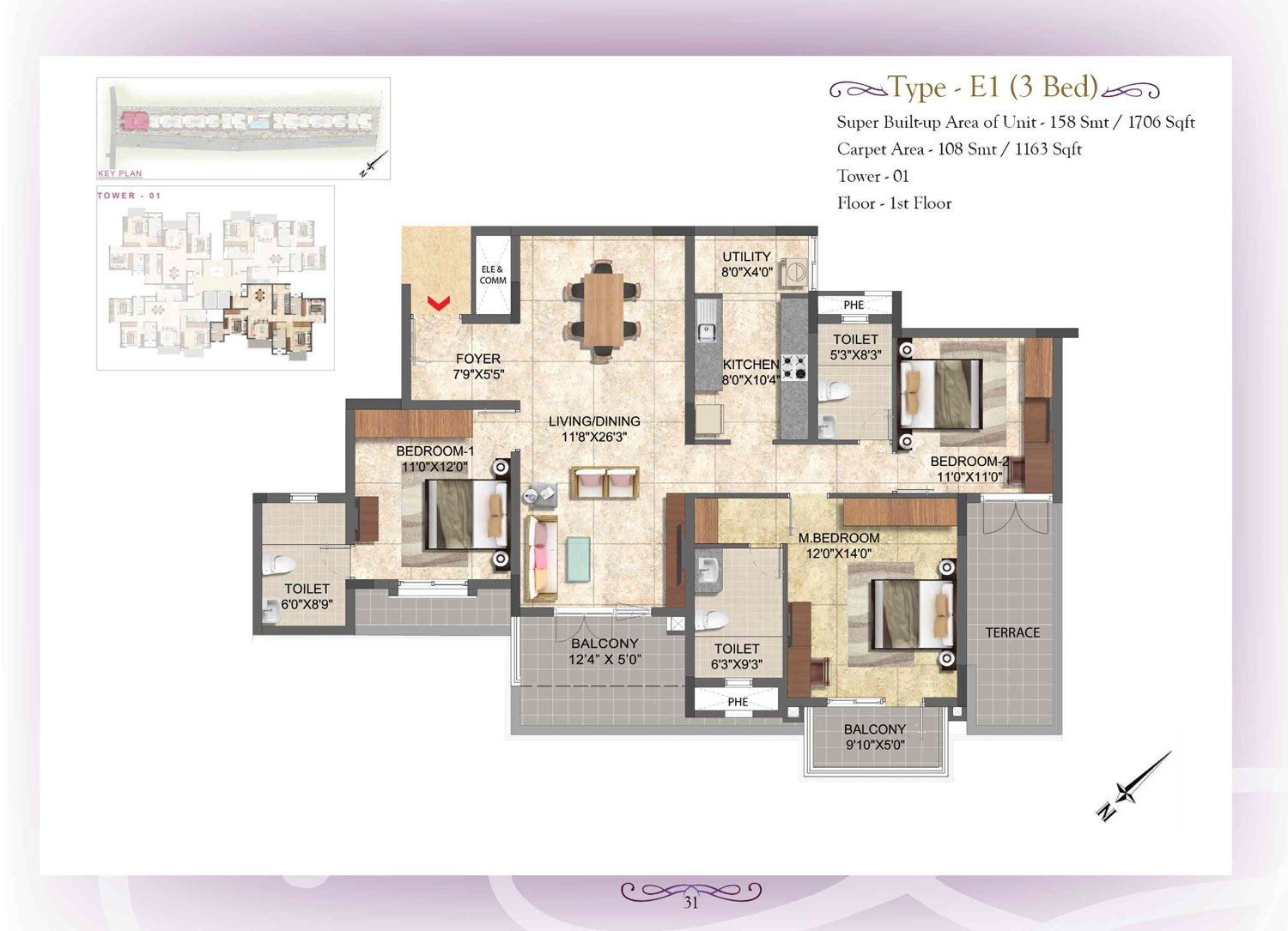 Type E1 - 3 Bed - 1706 Sq Ft