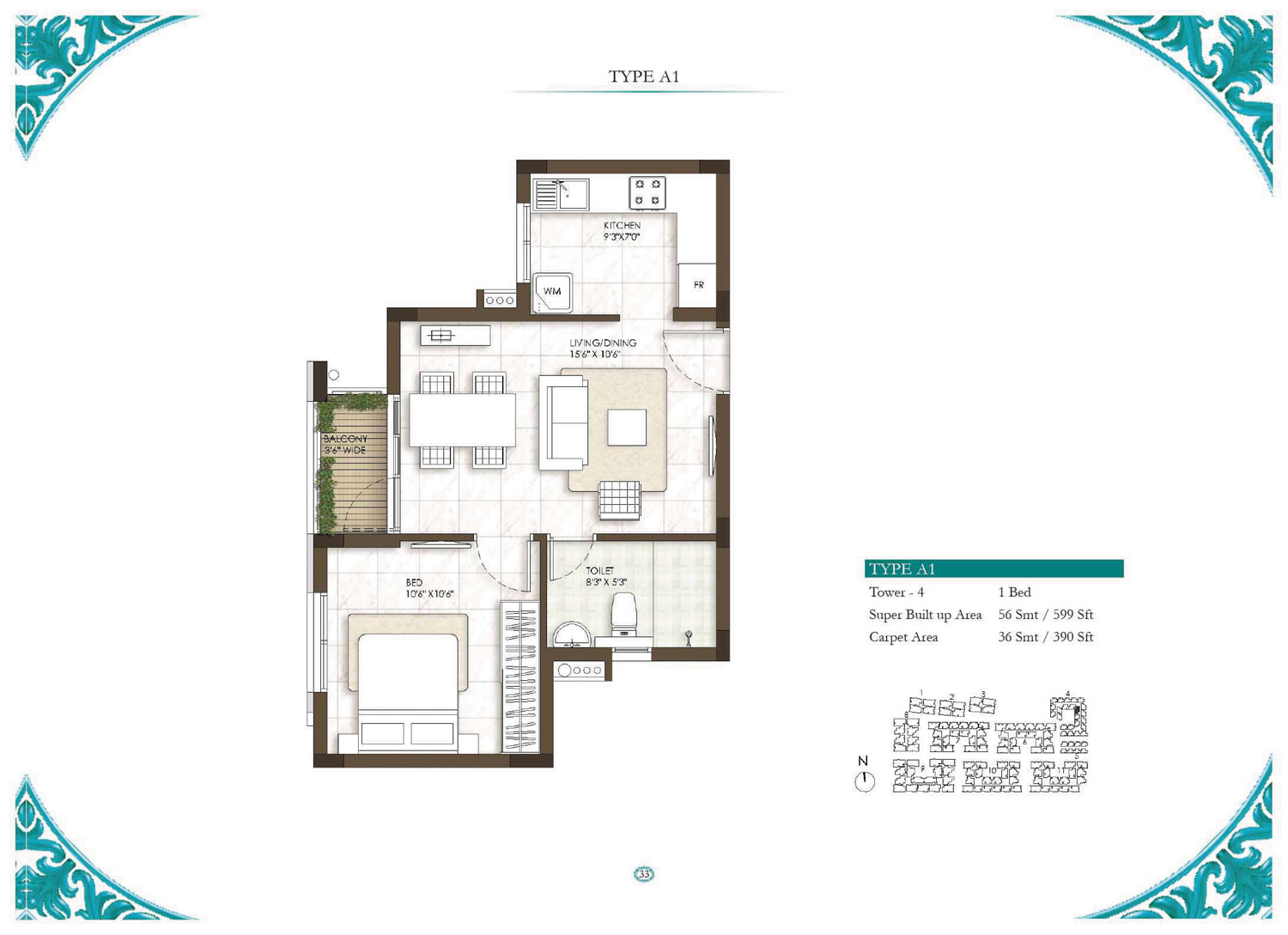 Type A1 - 1 Bed - 599 Sq Ft
