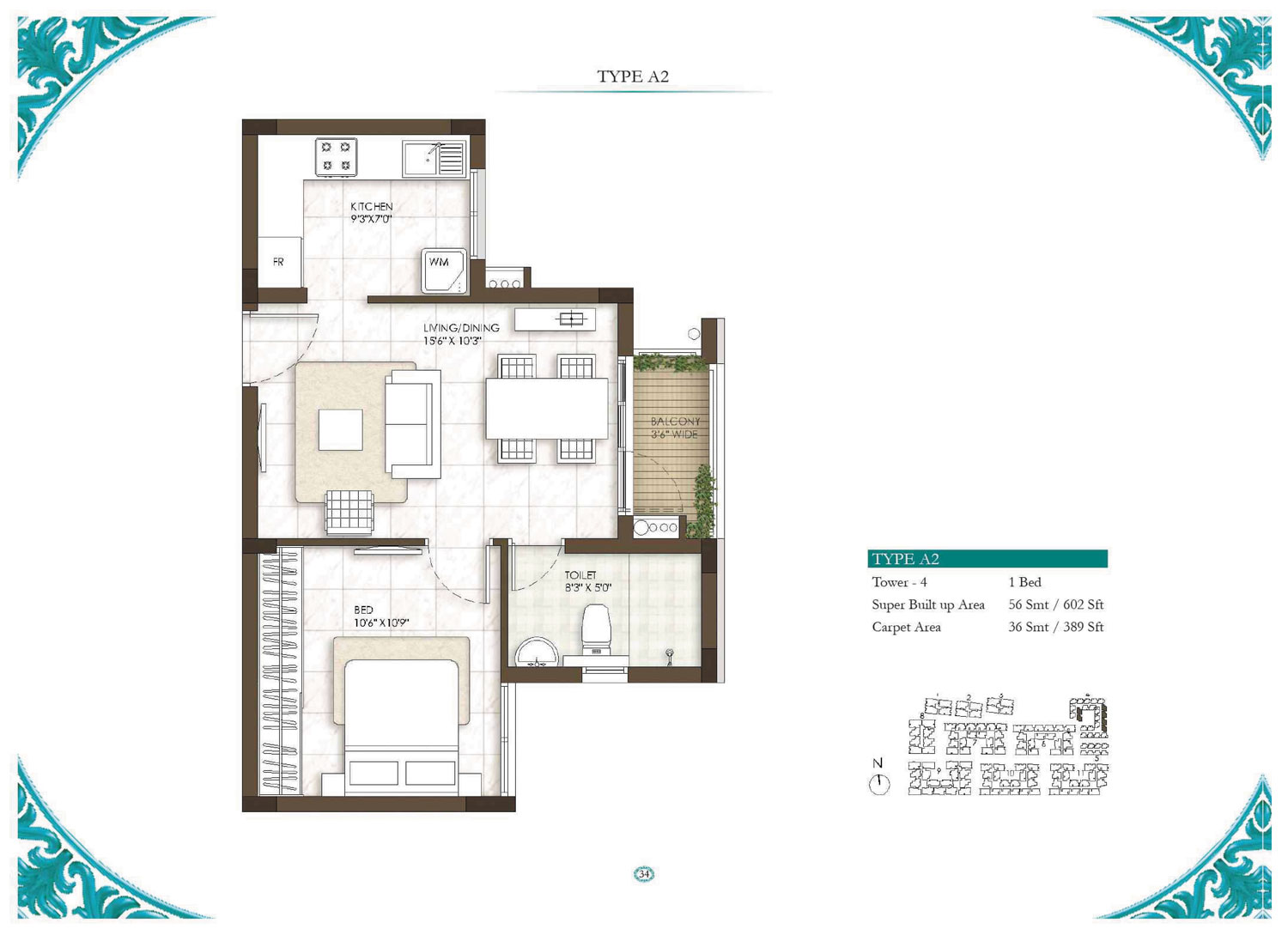 Type A2 - 1 Bed - 602 Sq Ft