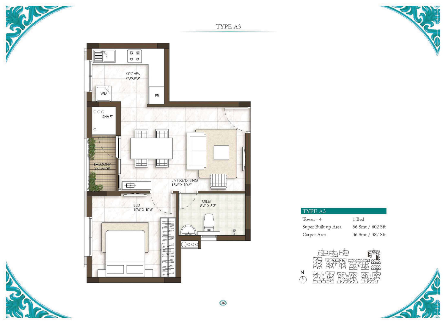Type A3 - 1 Bed - 602 Sq Ft