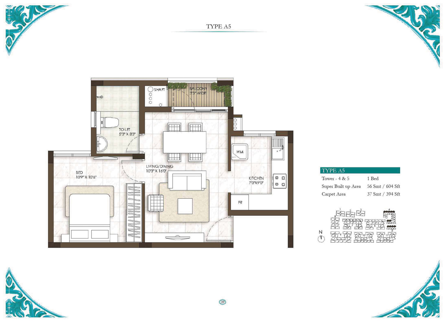 Type A5 - 1 Bed - 604 Sq Ft