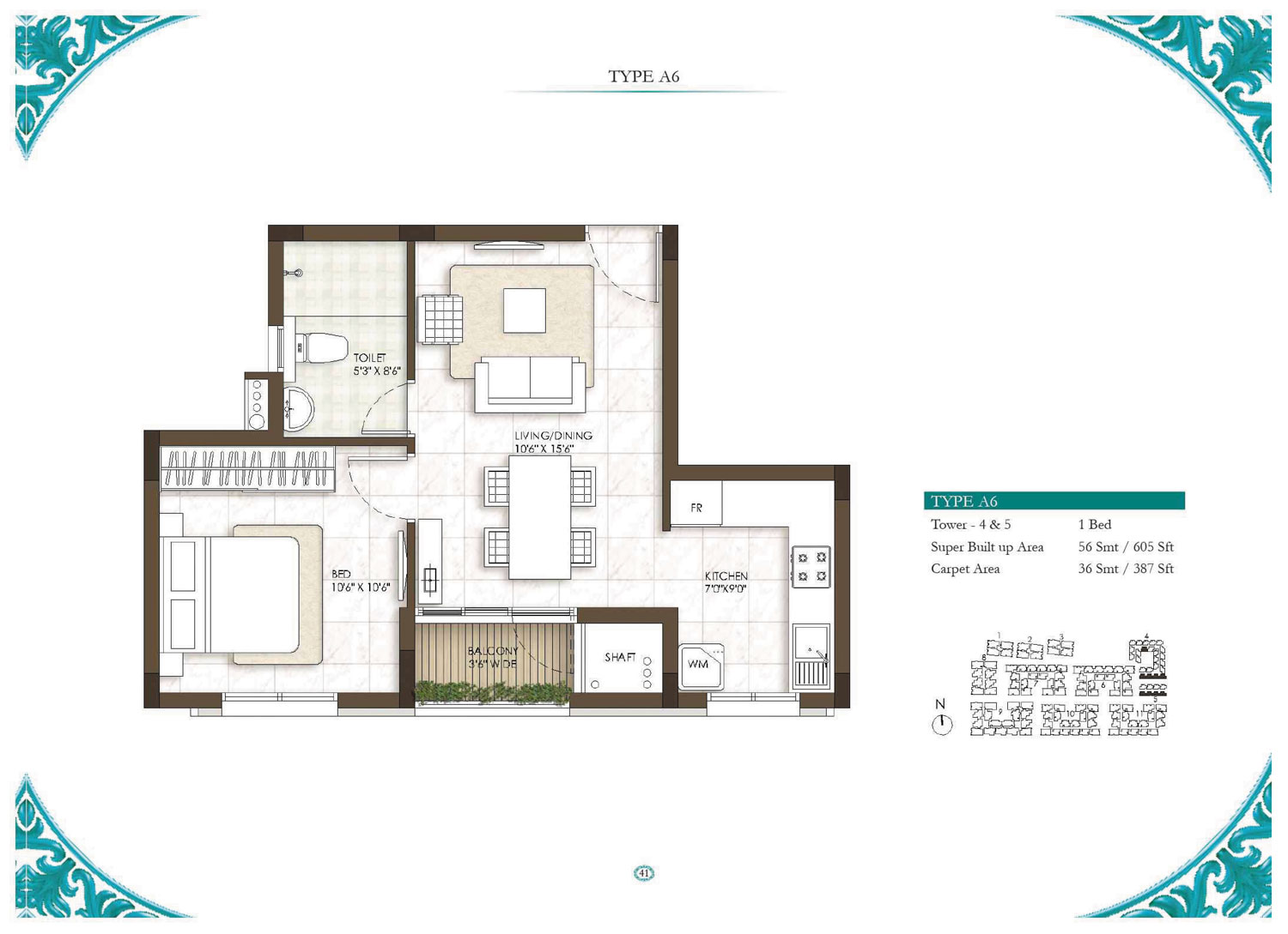 Type A6 - 1 Bed - 605 Sq Ft