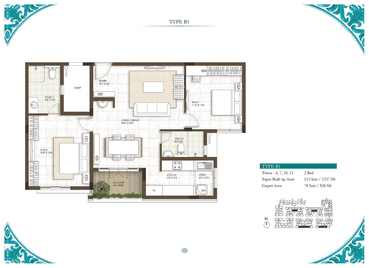 Type B1 - 1 Bed - 1237 Sq Ft